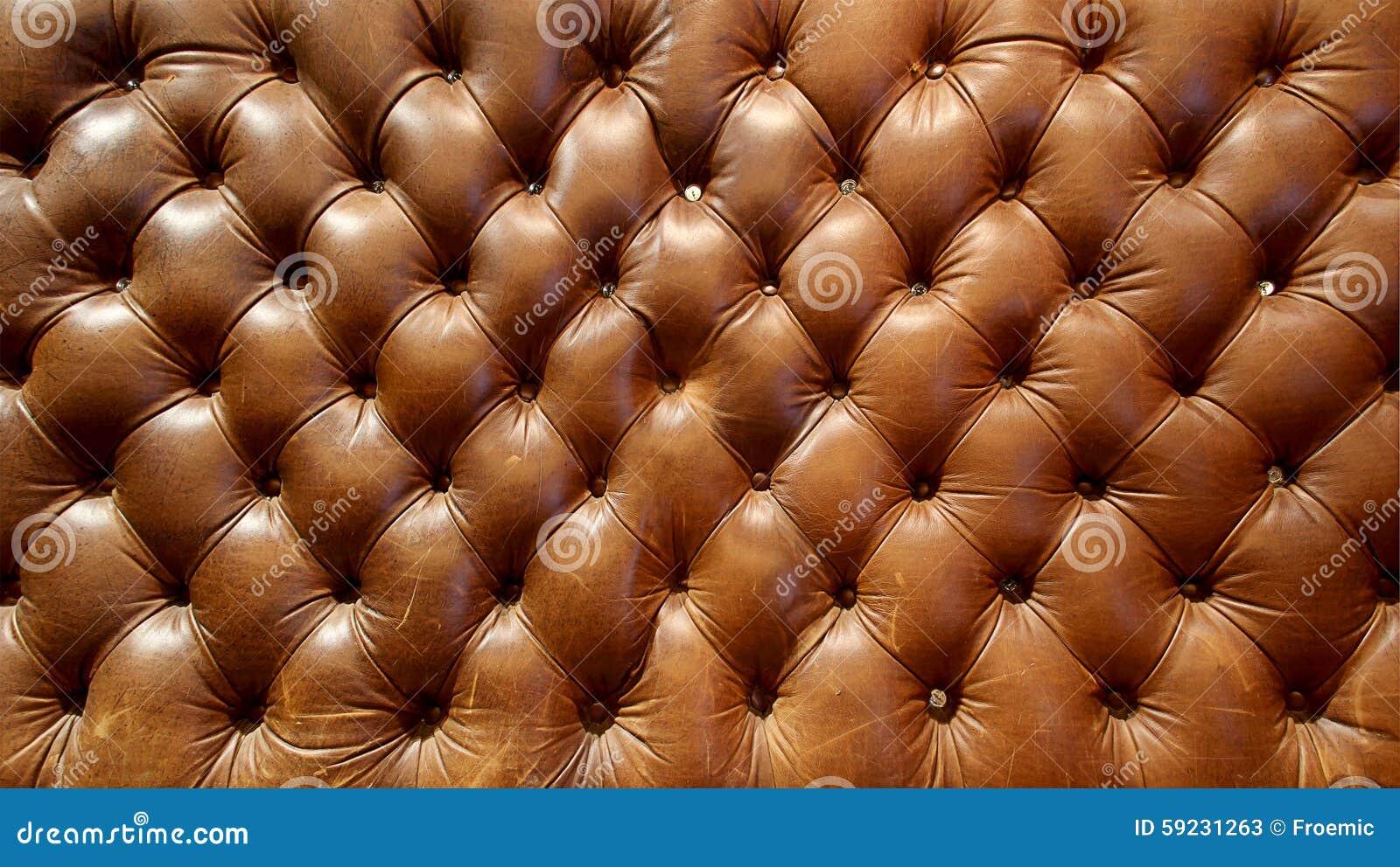 Textura de cuero marrón grande del sofá