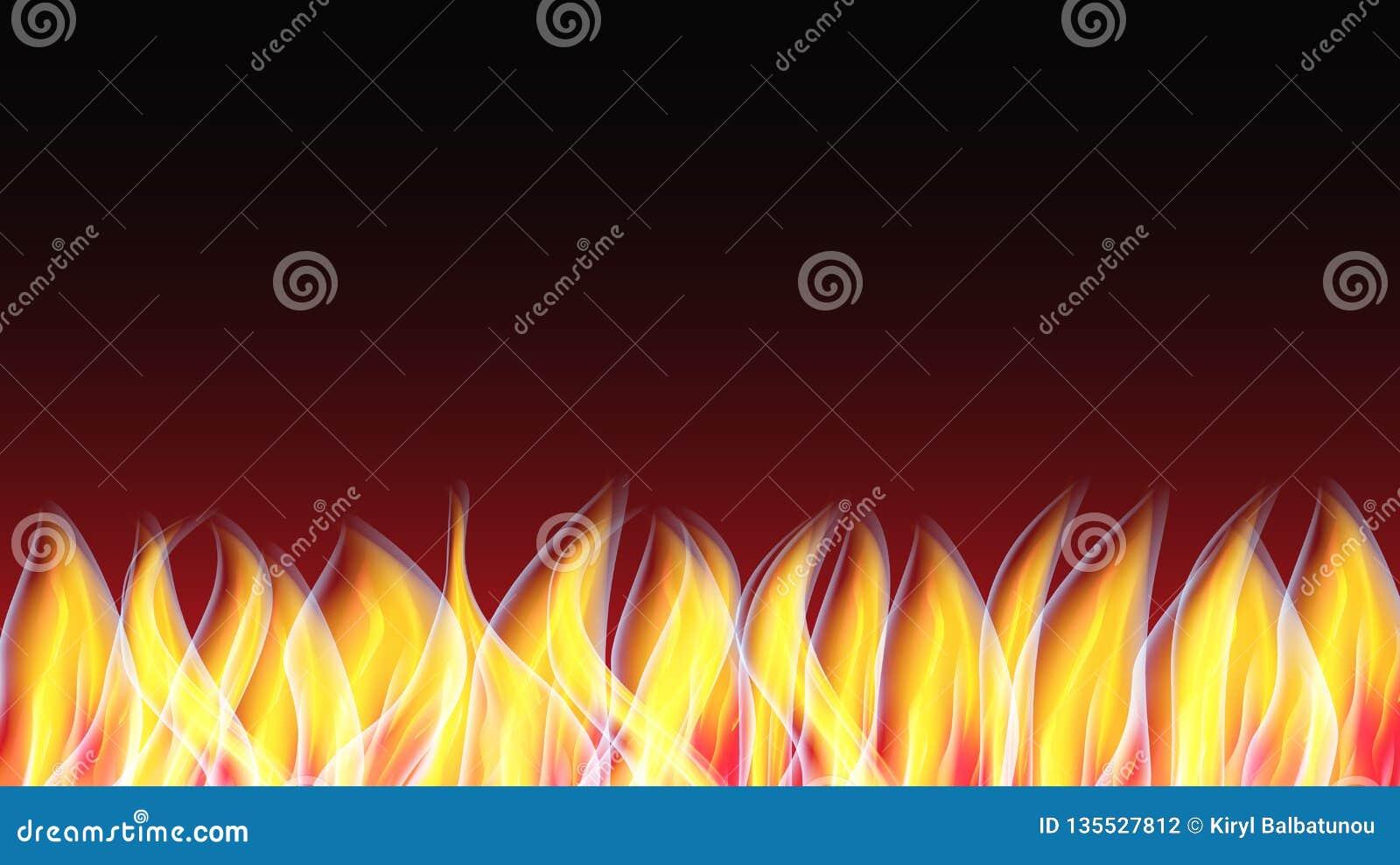 Textura de incandescência abstrata de um fogo ardente alaranjado vermelho brilhante quente com as línguas do fundo do espaço da c