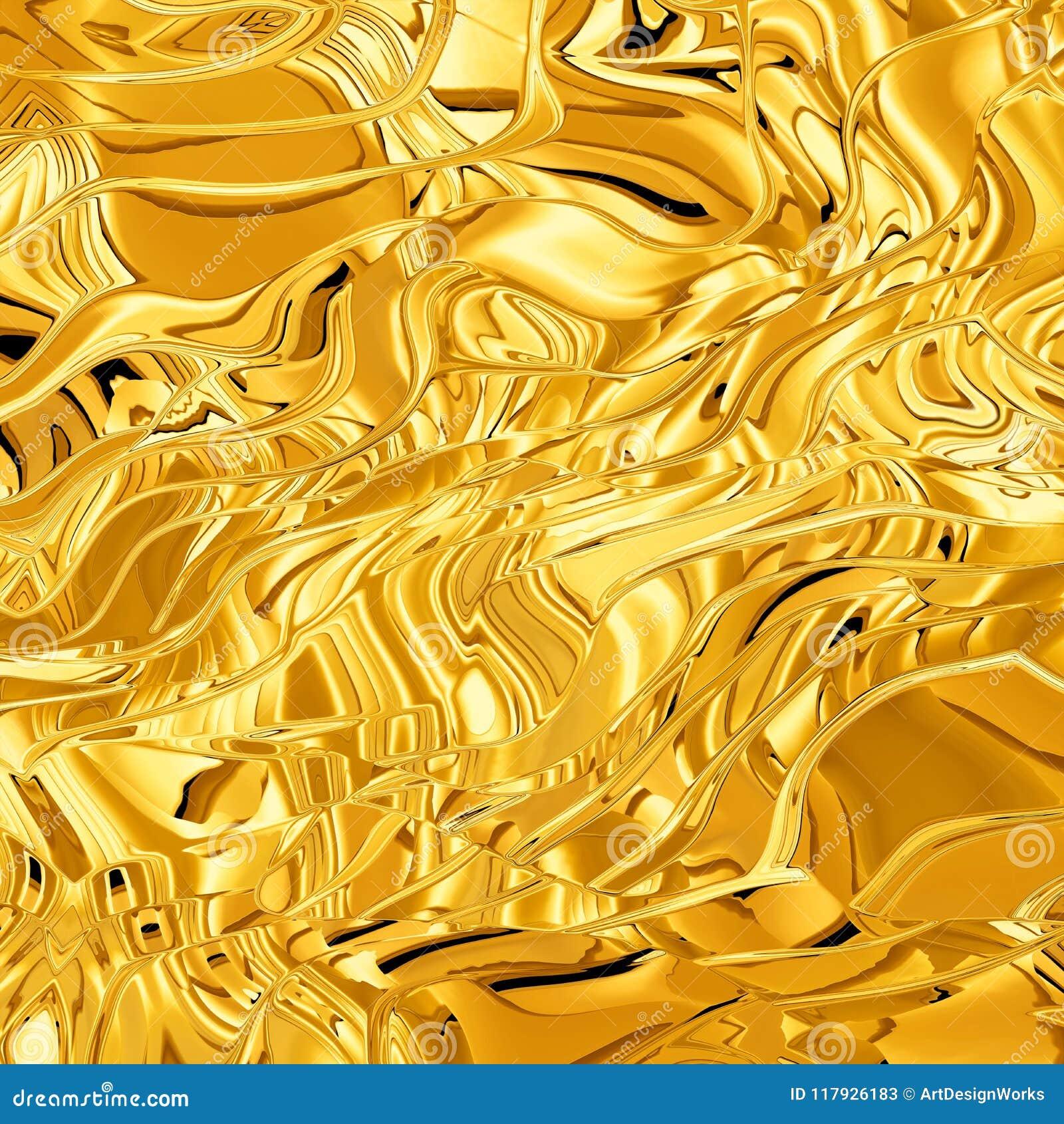 Textura de la onda 3D del oro