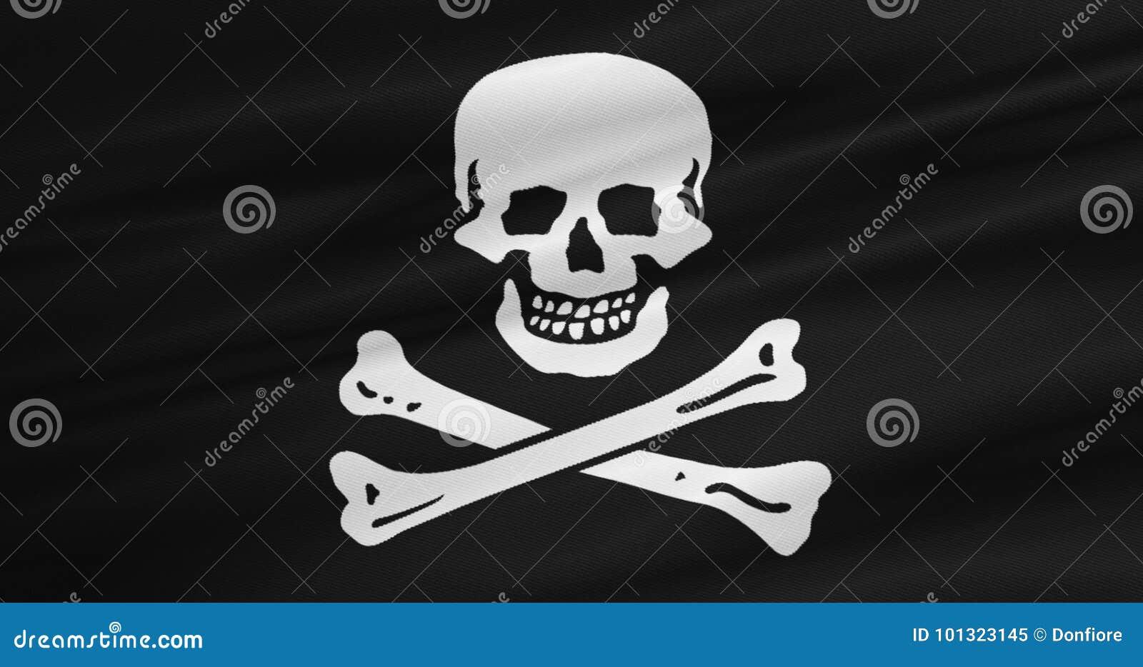 Textura de la tela que agita de la bandera de pirata que agita en viento, símbolo del pirata del enchufe del calicó, pirata infor ilustración del vector