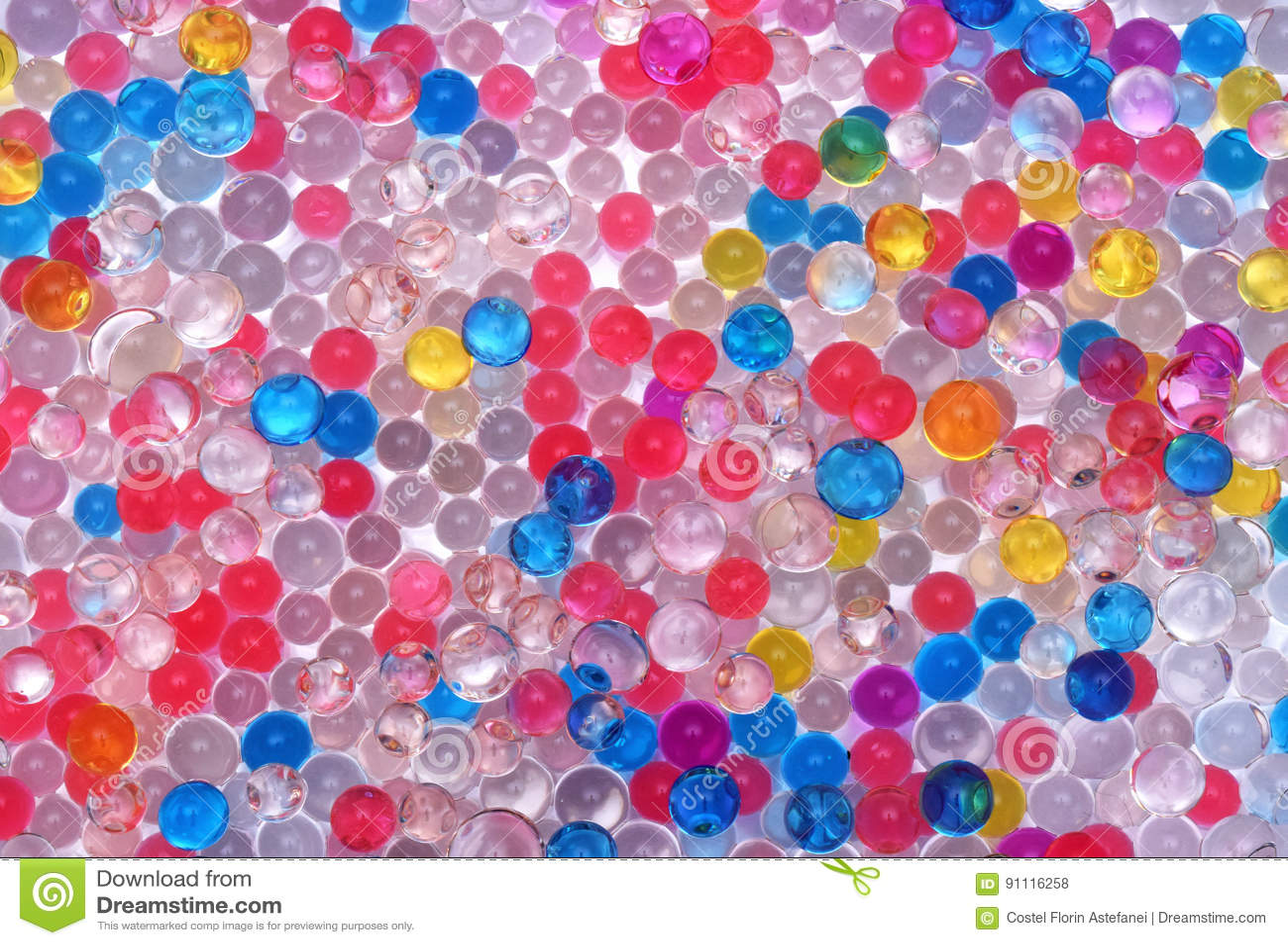 3d0896a23 Cierre coloreado transparente de la textura de las bolas del agua para  arriba