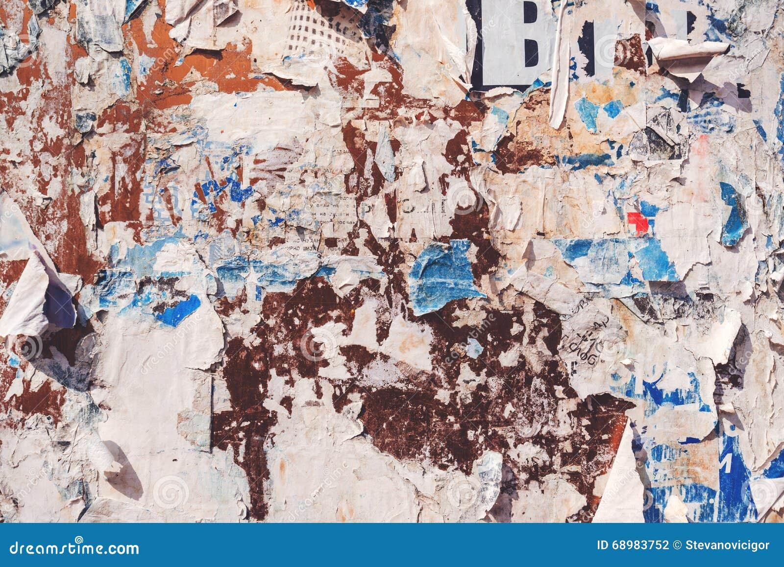 Textura de los pedazos de papel de cartel
