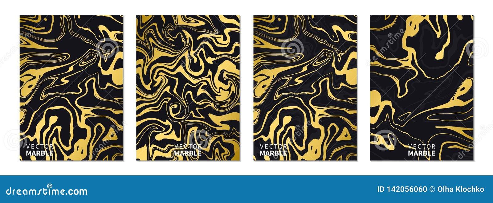 Textura de mármol líquida en oro Banderas verticales fijadas con el fondo abstracto Chapoteo flúido dinámico de oro del arte Vect