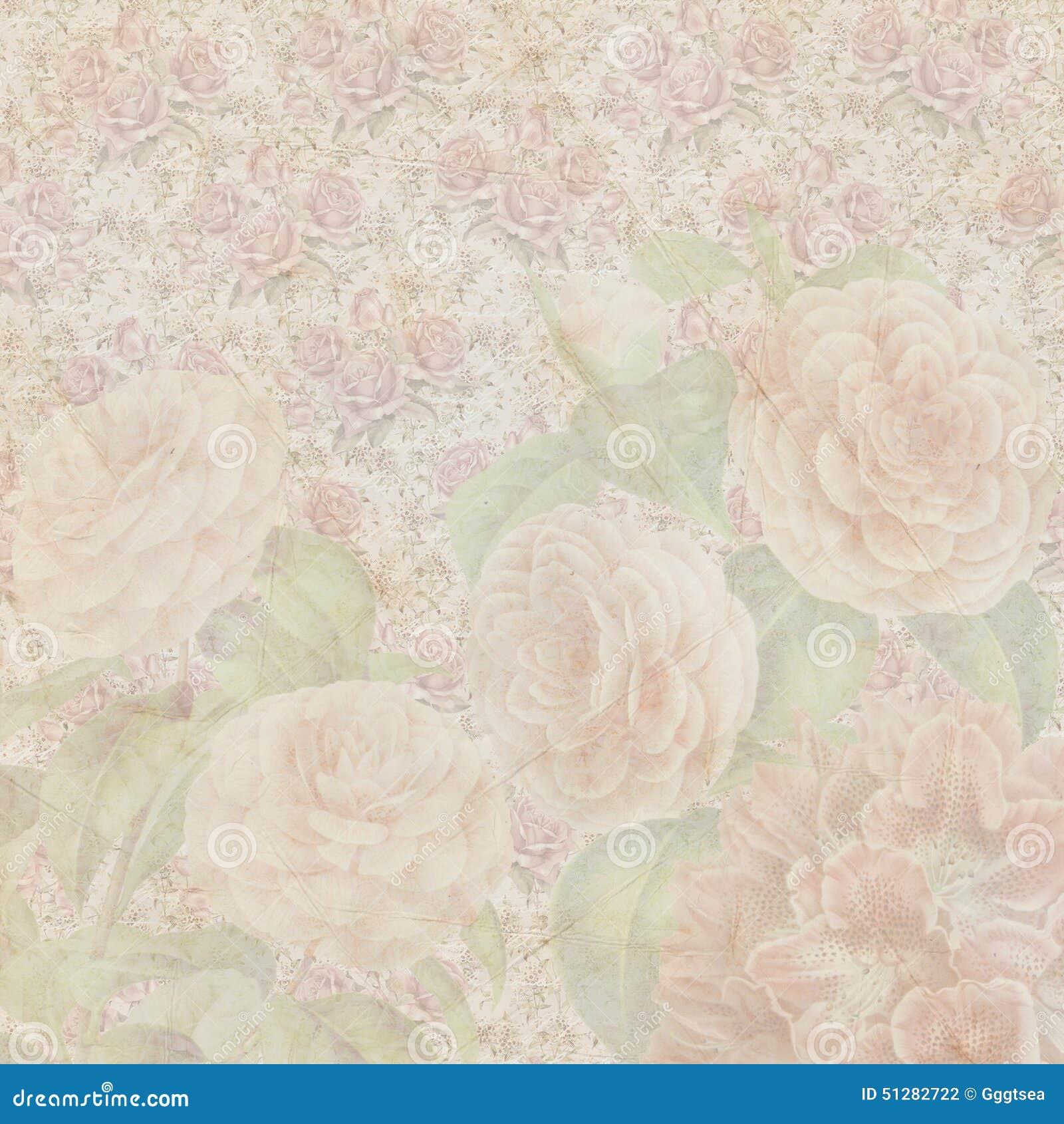 Textura de papel das flores gastos do vintage