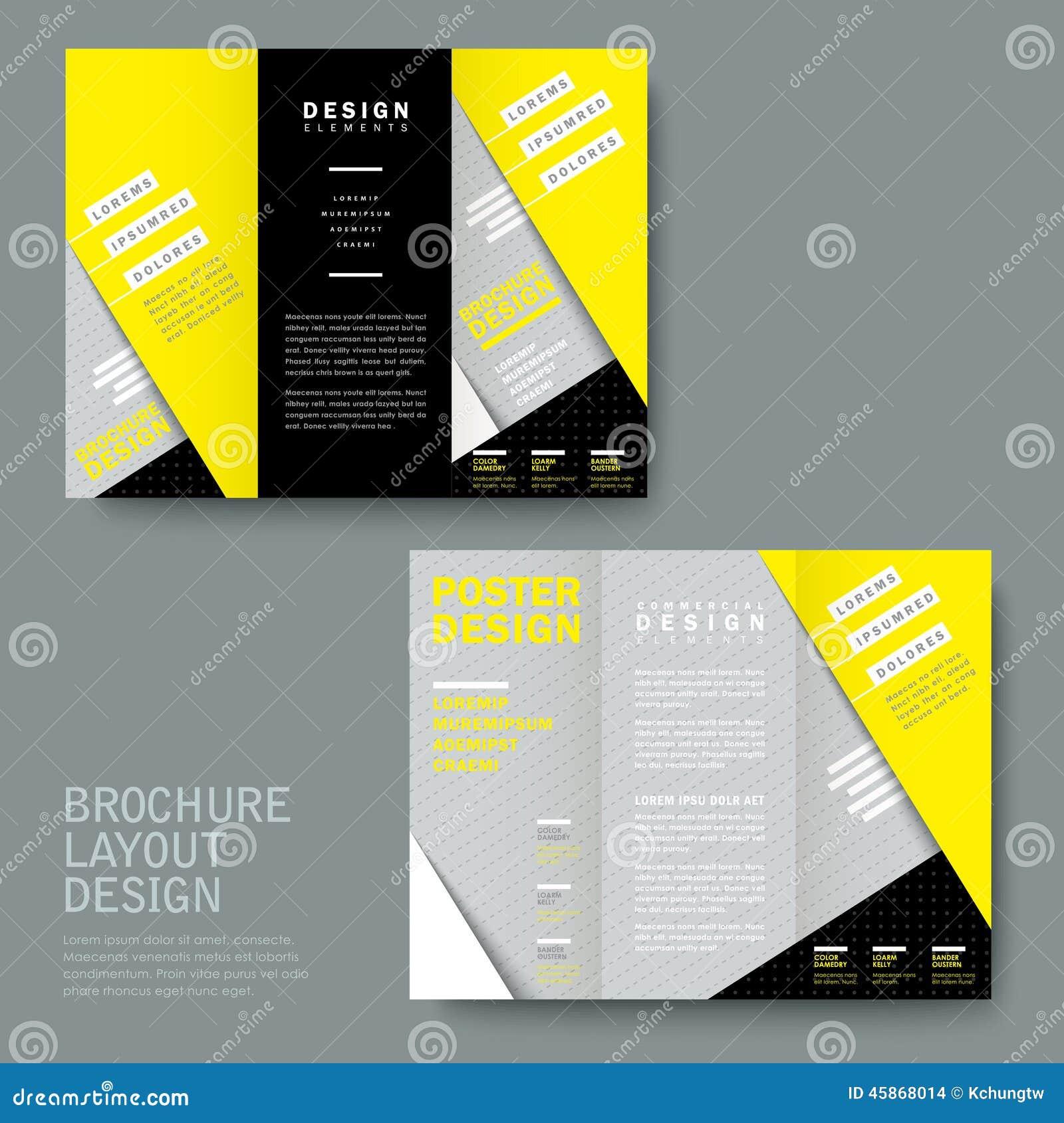 Textura de papel moderna dobrável em três partes em amarelo e em cinzento