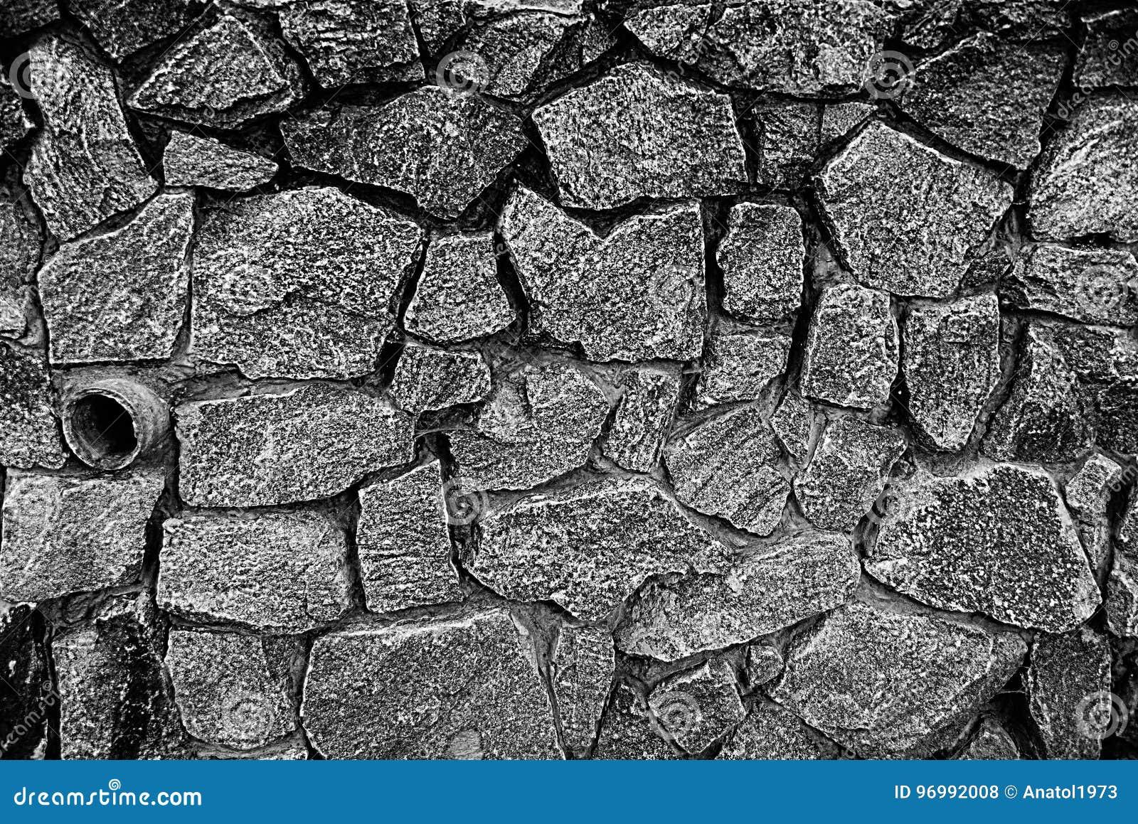 Textura De Piedra Gris De Un Fragmento Del Sótano Con Los Guijarros ...