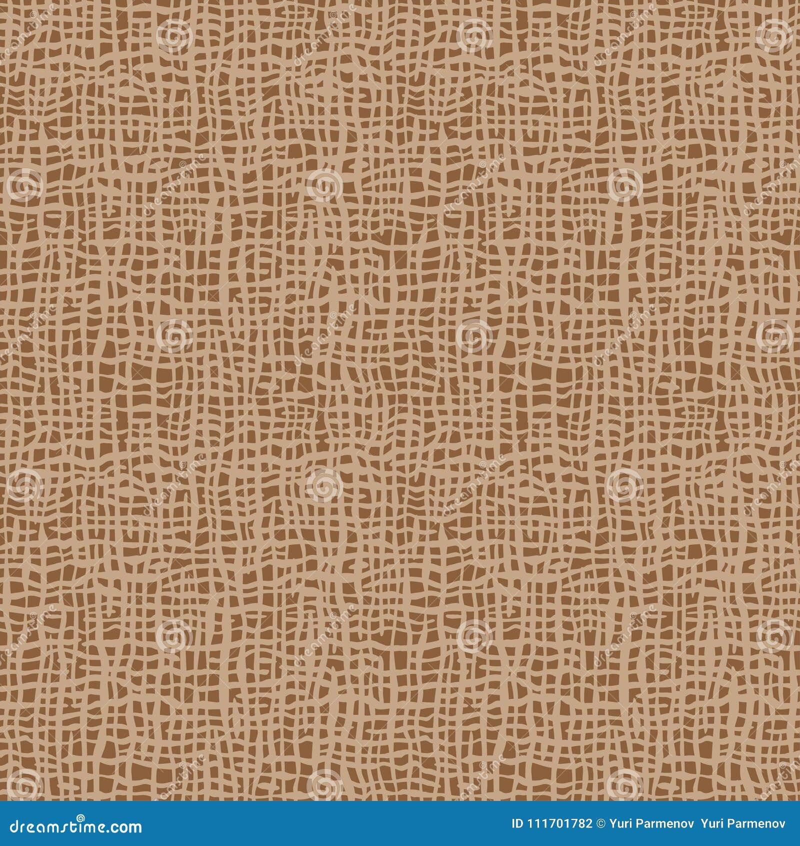 Textura de serapilheira Tela de Brown Teste padrão sem emenda do fundo da lona Contexto de linho do saco de pano