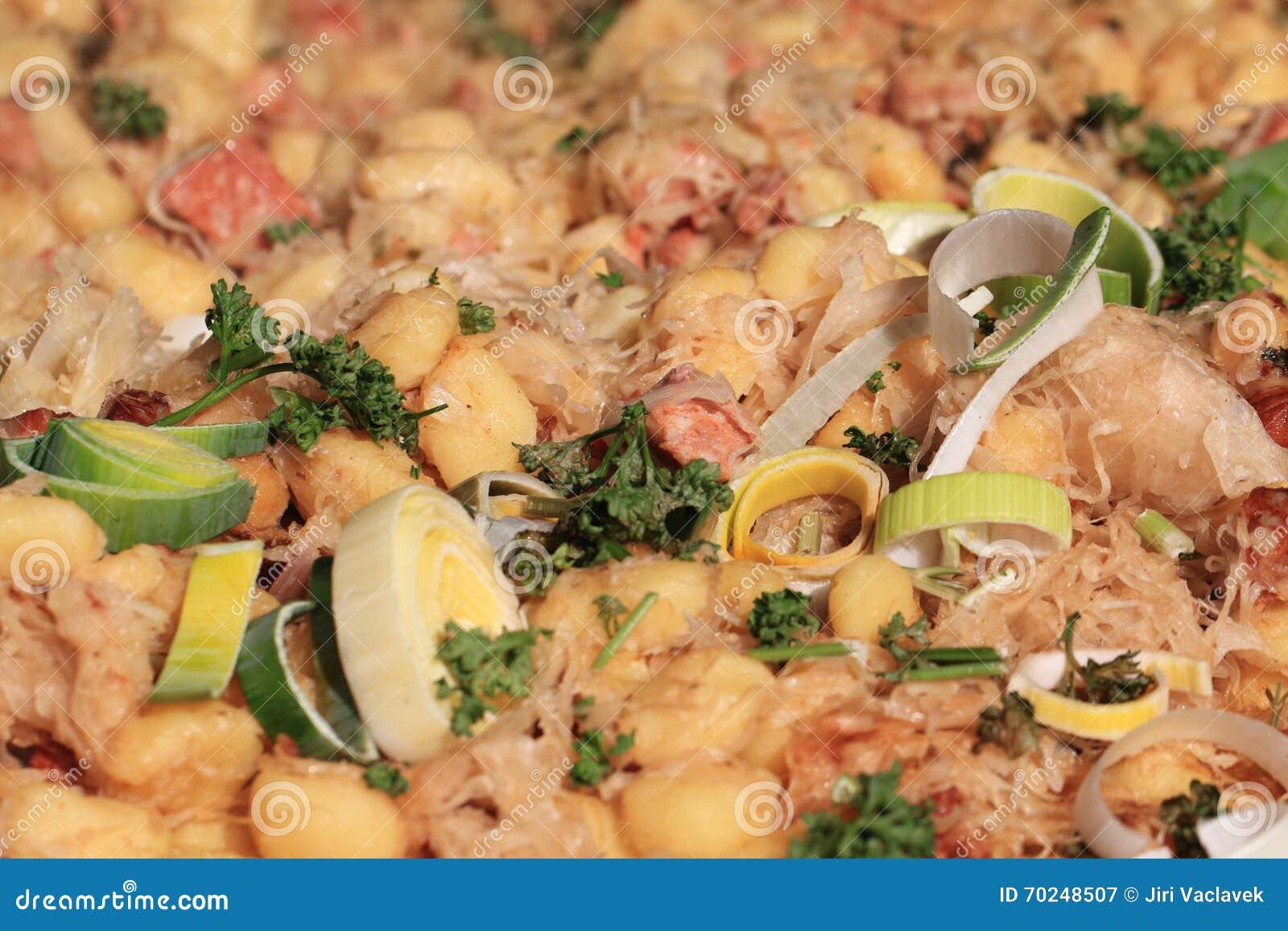 Textura del gnocchi de Bryndza (comida nacional de Eslovaquia)