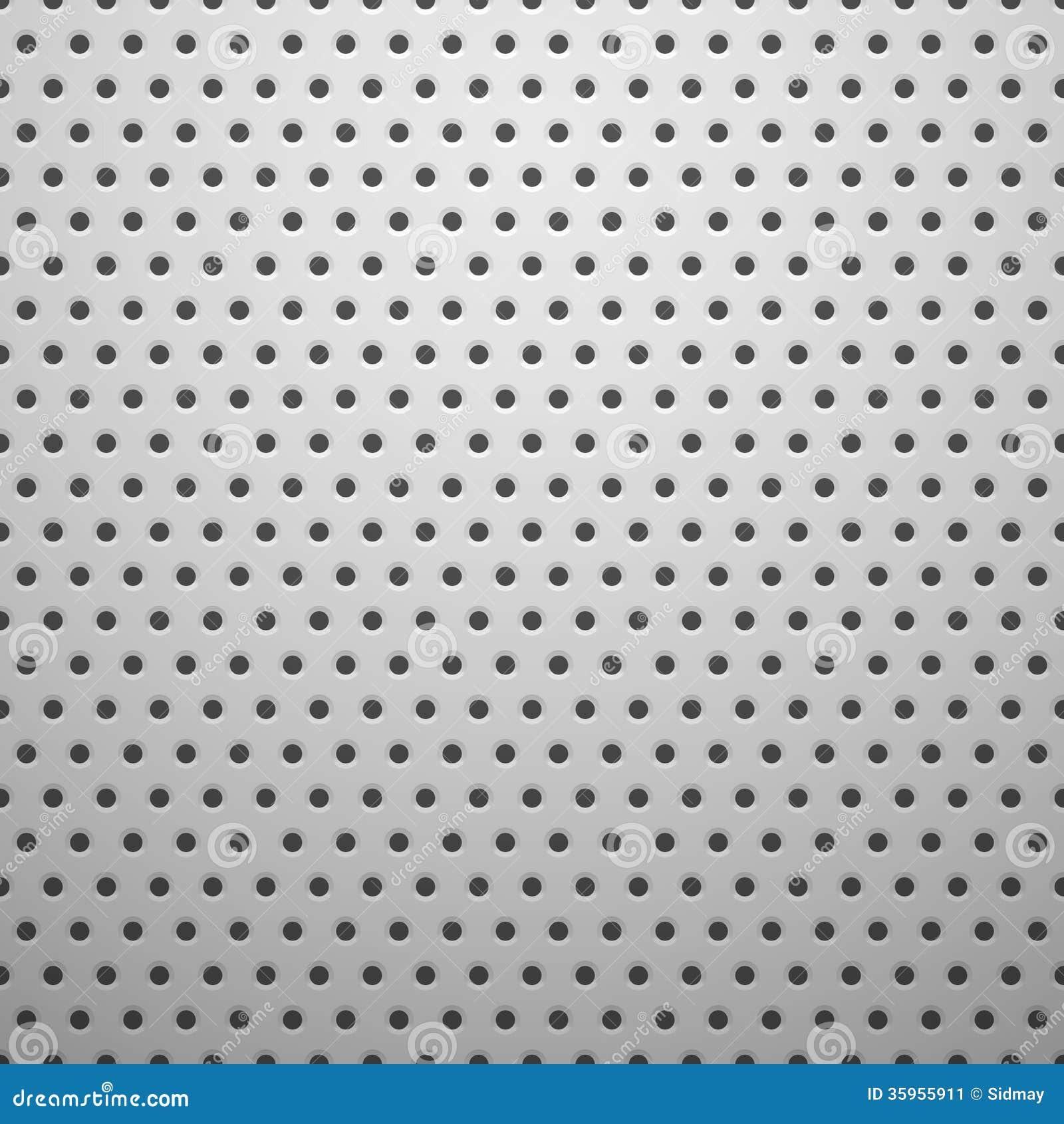 Textura del metal blanco con los agujeros