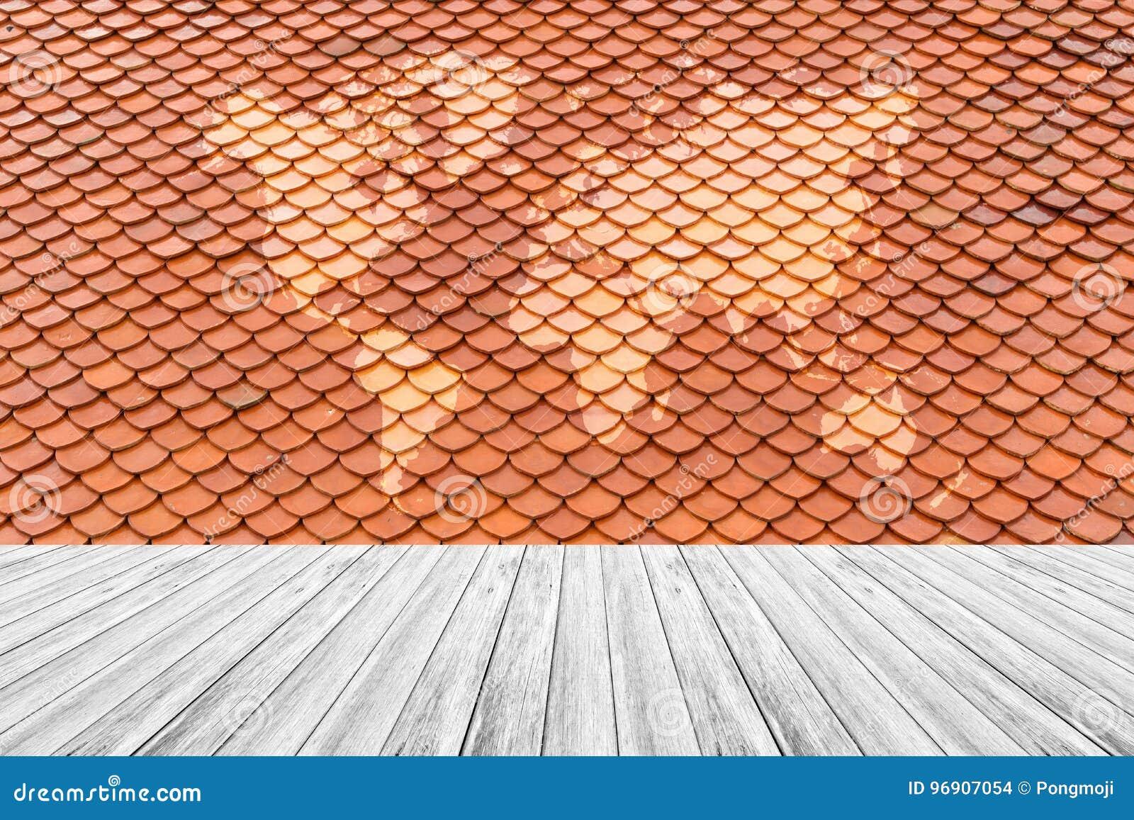 Textura Del Tejado De Teja Con La Terraza Y El Mapa Del
