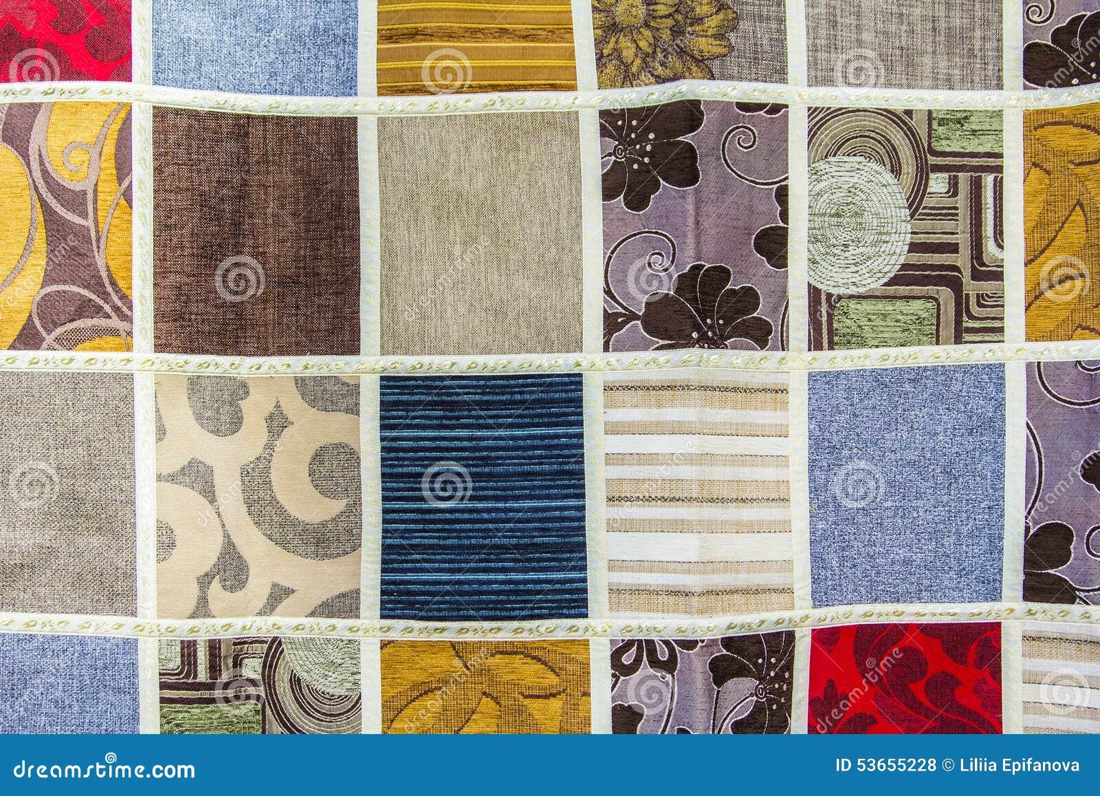 Textura do fundo de uns retalhos de partes diferentes de tela