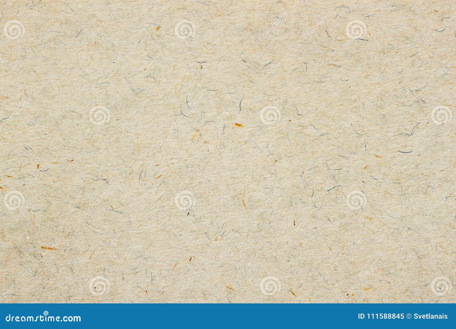 Textura do papel orgânico velho do creme claro Material reciclável com marrom pequeno e e inclusões azuis da celulose