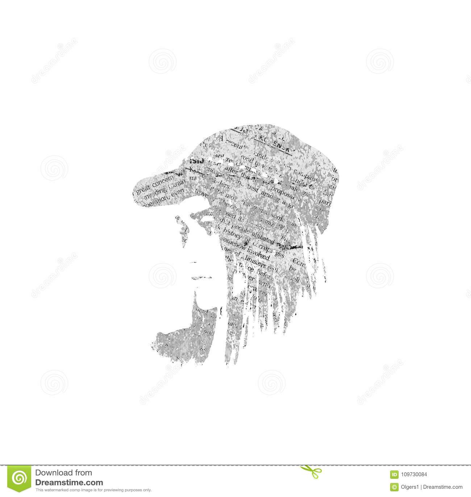 Textura do retrato e do jornal da menina