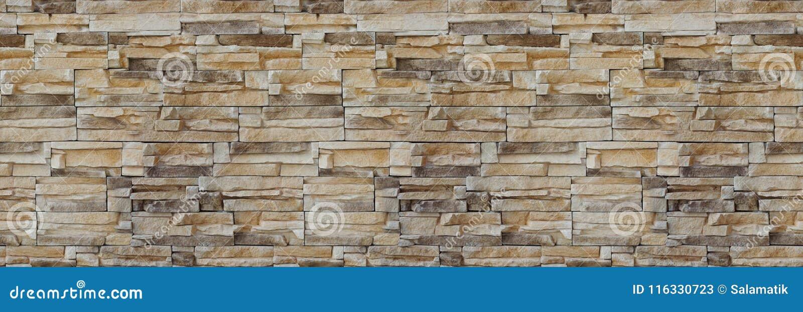Textura do tijolo da parede de pedra Teste padrão sem emenda Fundo da fachada do arenito