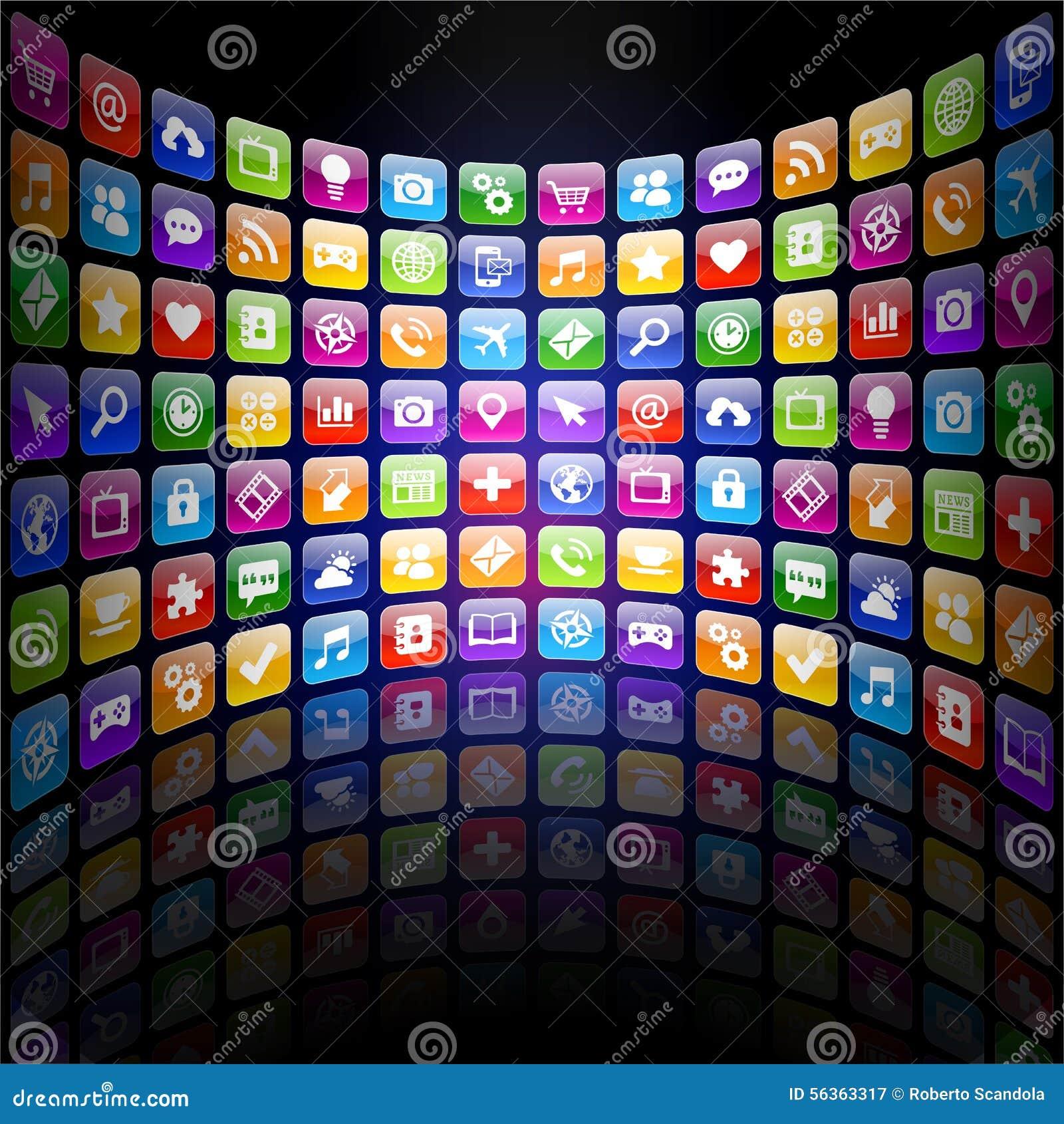 Textura dos ícones 3d do App com reflexão