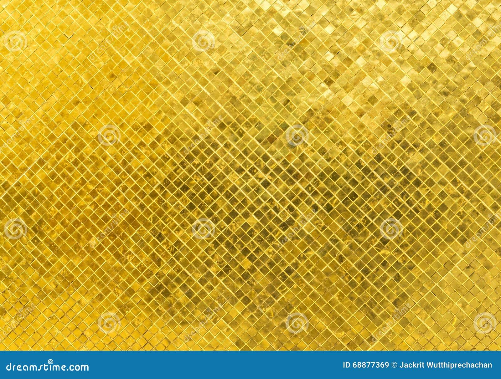 Textura dourada brilhante luxuosa do fundo do mosaico de Tone Rectangle Tile Glass Pattern