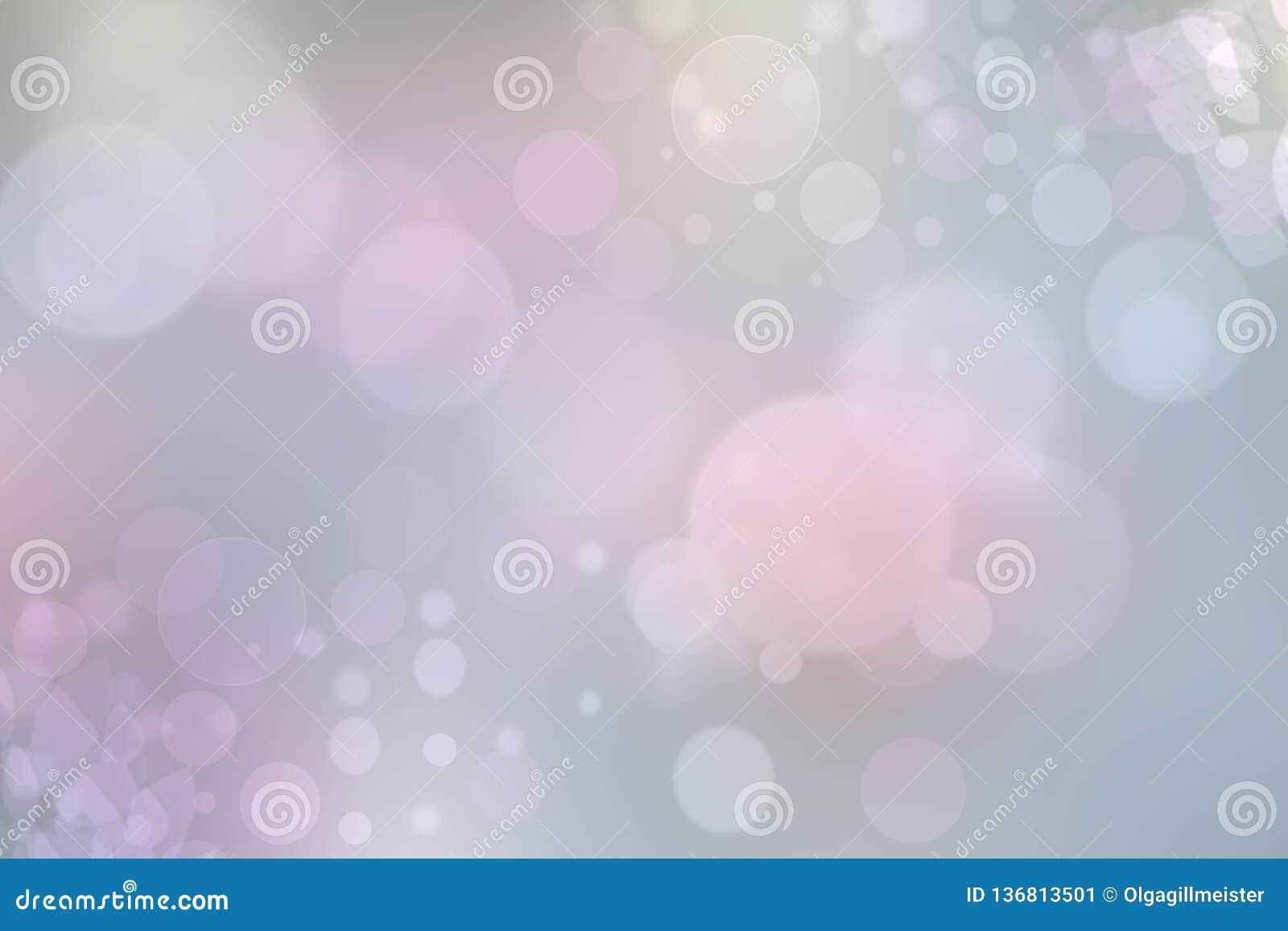Textura en colores pastel rosa clara del fondo del bokeh del extracto con los círculos de color suaves brillantes Espacio para su