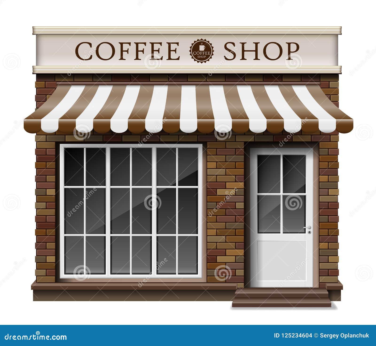 Textura Exterior Del Ladrillo De La Tienda O Del Cafe Del Boutique Del Cafe Maqueta En Blanco De La Tienda Realista Elegante De L Ilustracion Del Vector Ilustracion De Maqueta Elegante