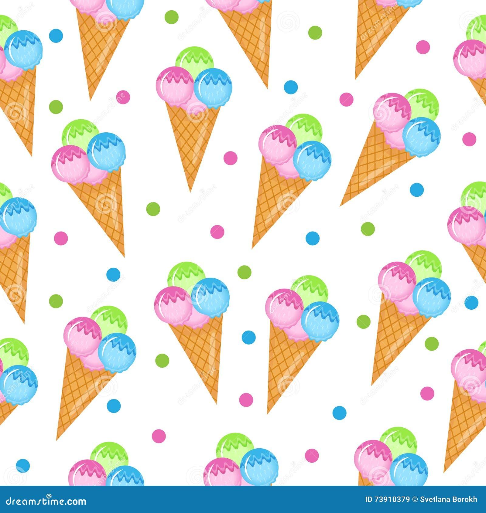 Textura inconsútil coloreada del helado Fondo del cono de helado de las bolas Bebé, niños papel pintado y materias textiles Ilust