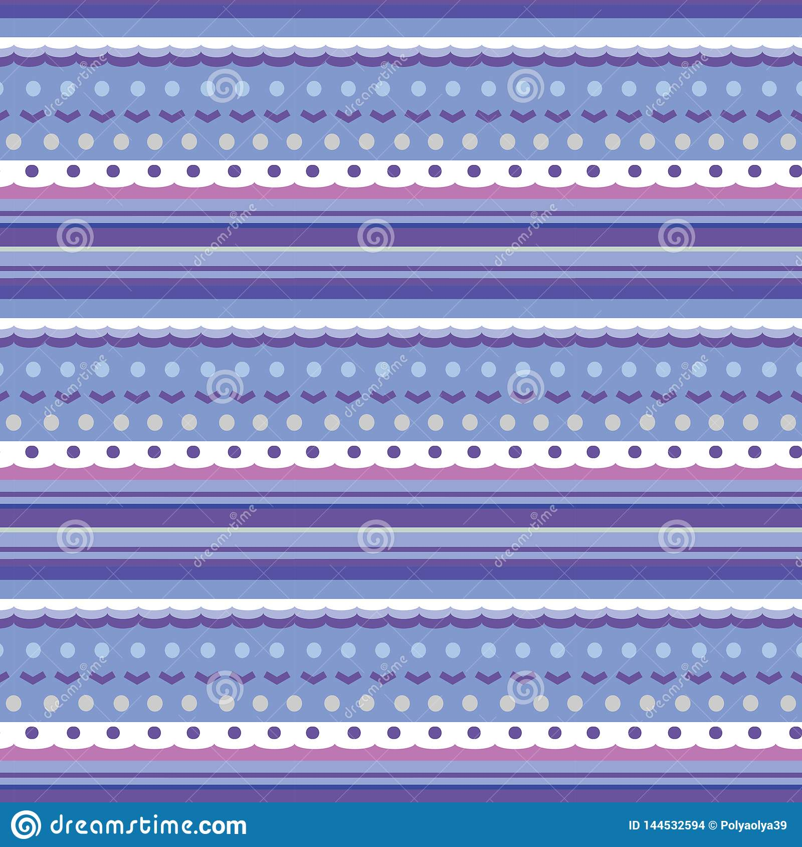 Textura inconsútil como modelo que hace punto con las diversos rayas, puntos y ondas