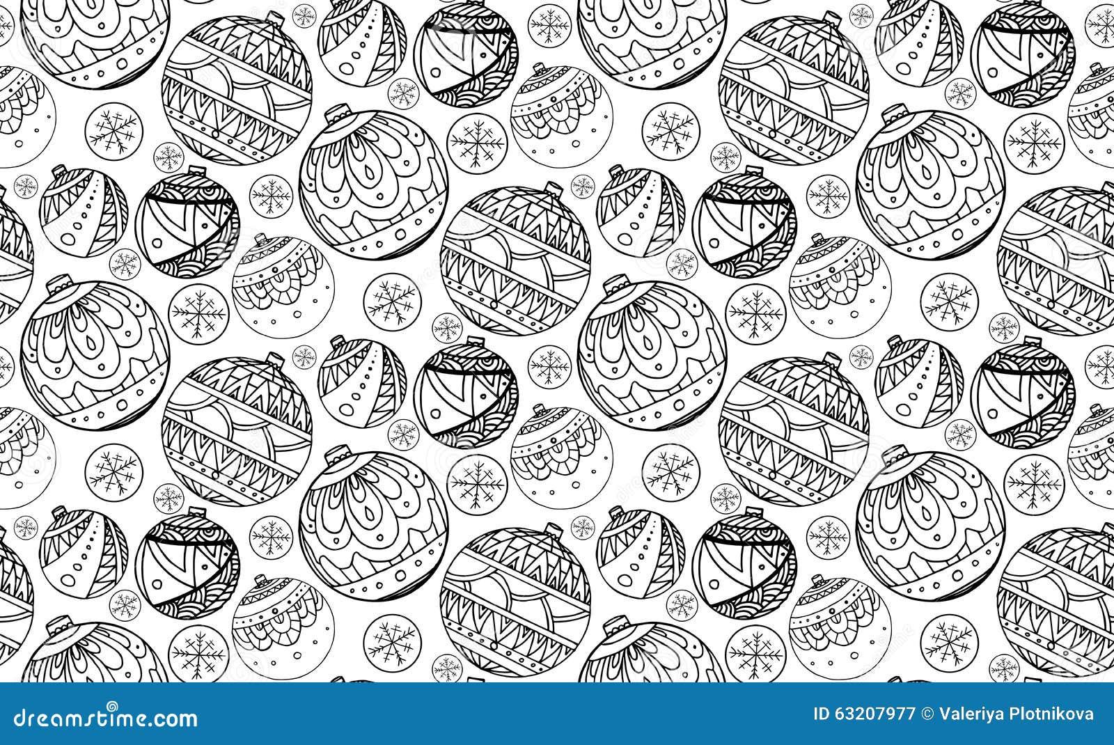 Textura inconsútil con las bolas blancos y negros de la Navidad