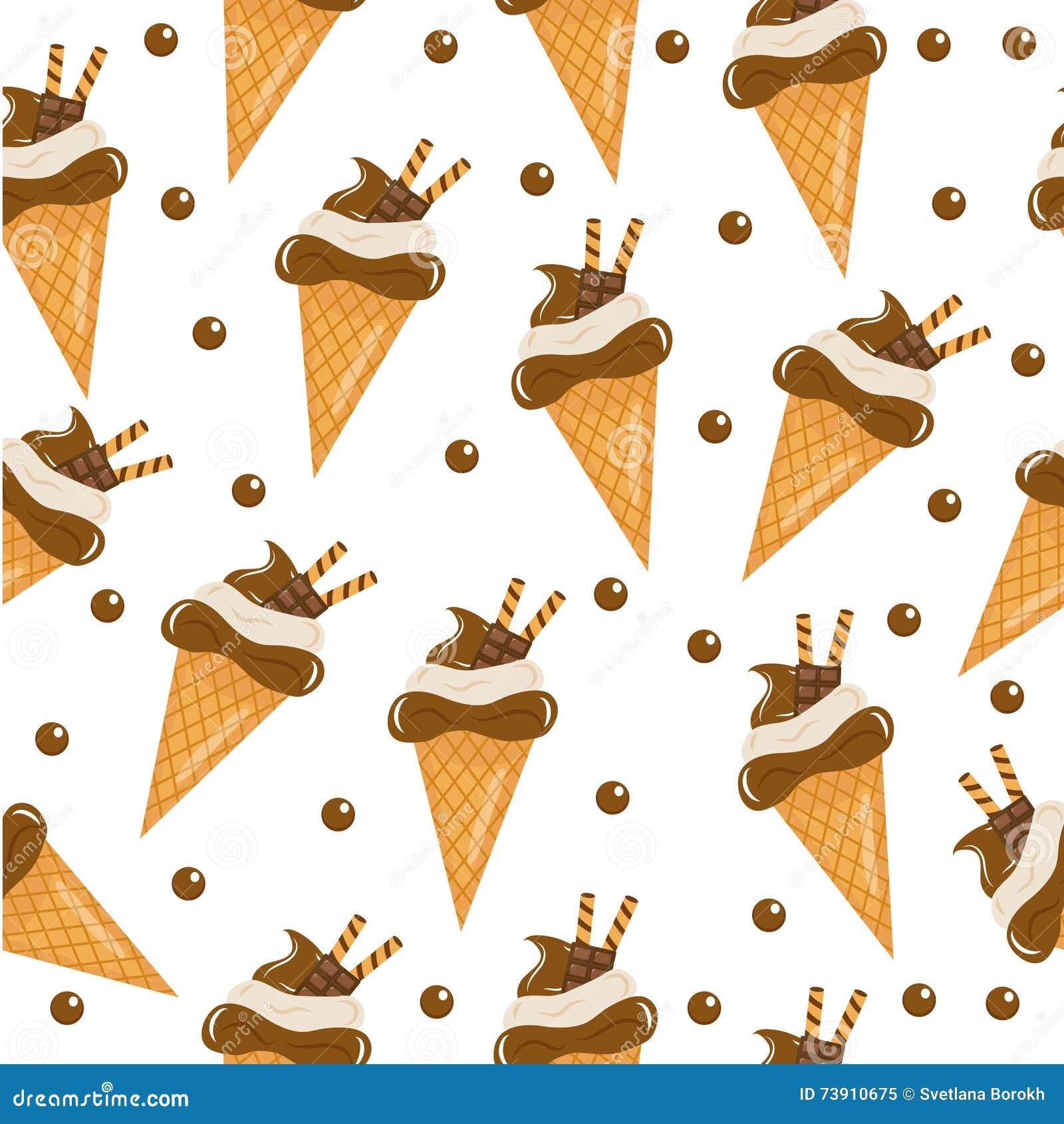Textura inconsútil del helado de chocolate fondo del cono de helado Bebé, niños papel pintado y materias textiles ejemplo del vec