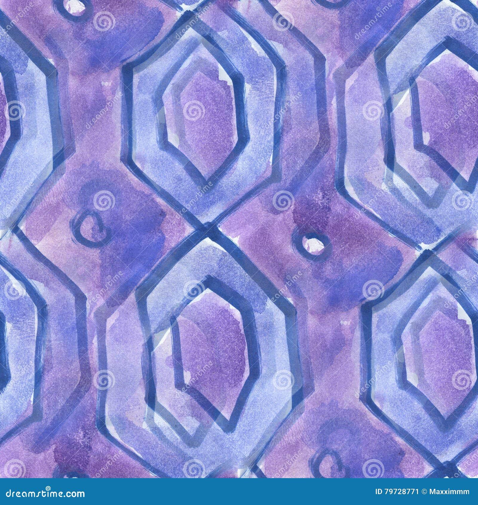 Textura inconsútil del triángulo de la acuarela de las materias textiles púrpuras del modelo para su arte del papel pintado del n