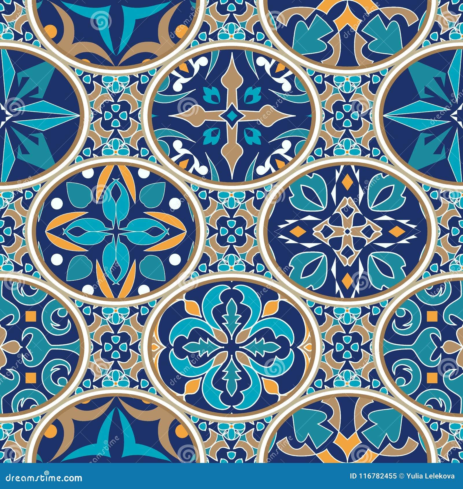 Textura inconsútil del vector Ornamento del remiendo del mosaico con los elementos ovales Modelo decorativo de los azulejos portu