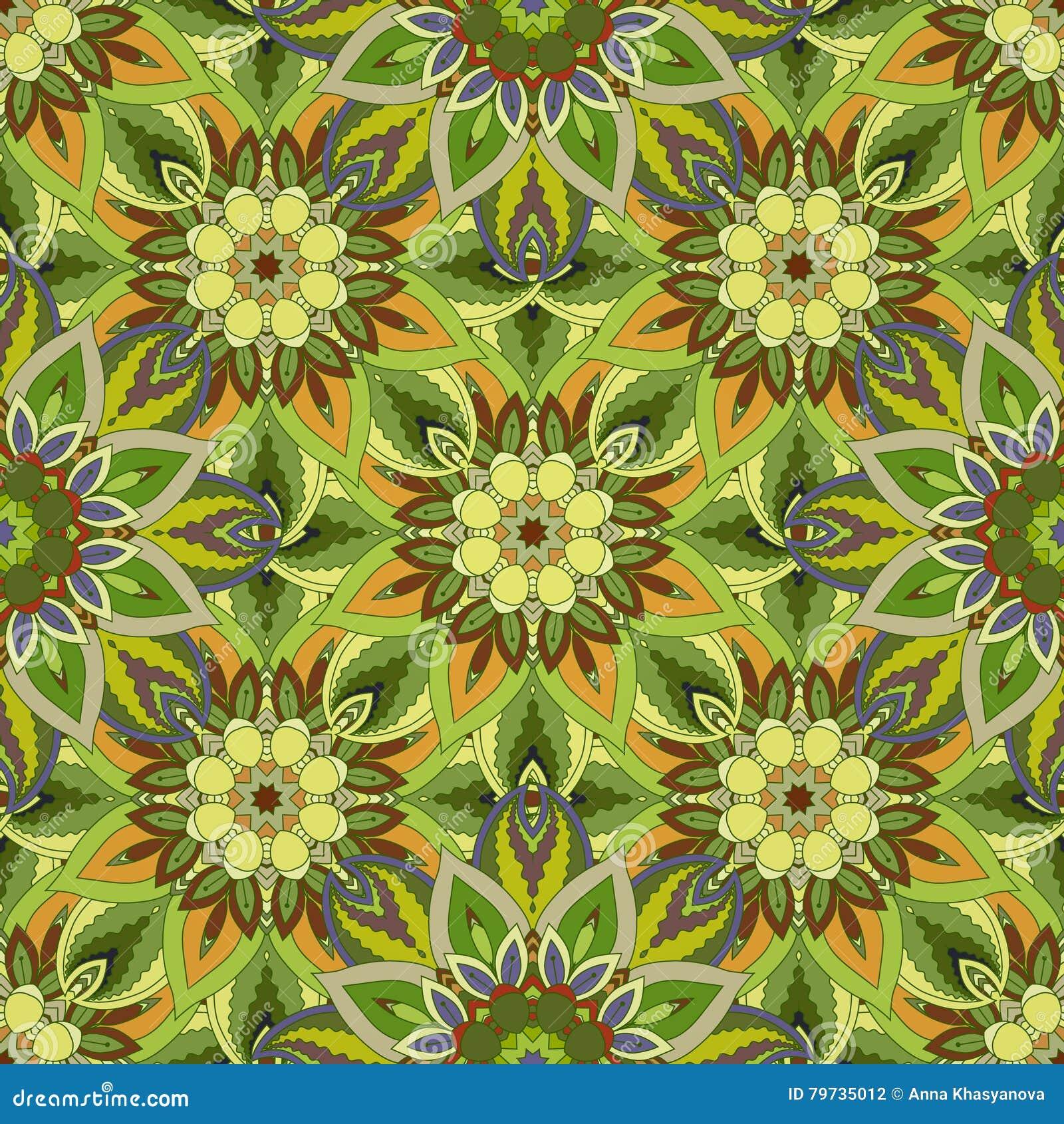 Textura inconsútil floral adornada, modelo sin fin con los elementos de la mandala del vintage