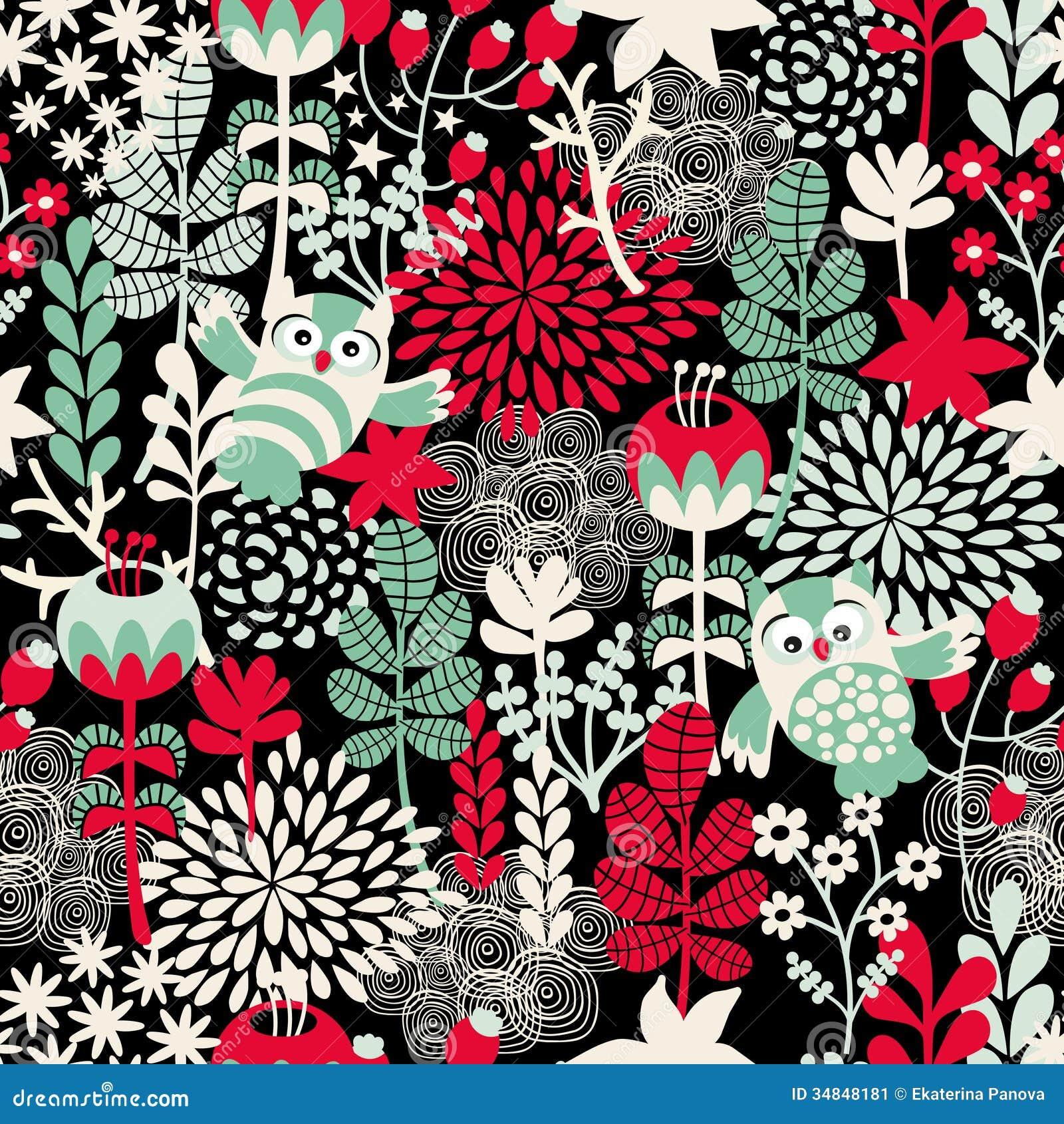 Textura Inconsútil Hermosa Con Los Búhos Ilustración Del Vector