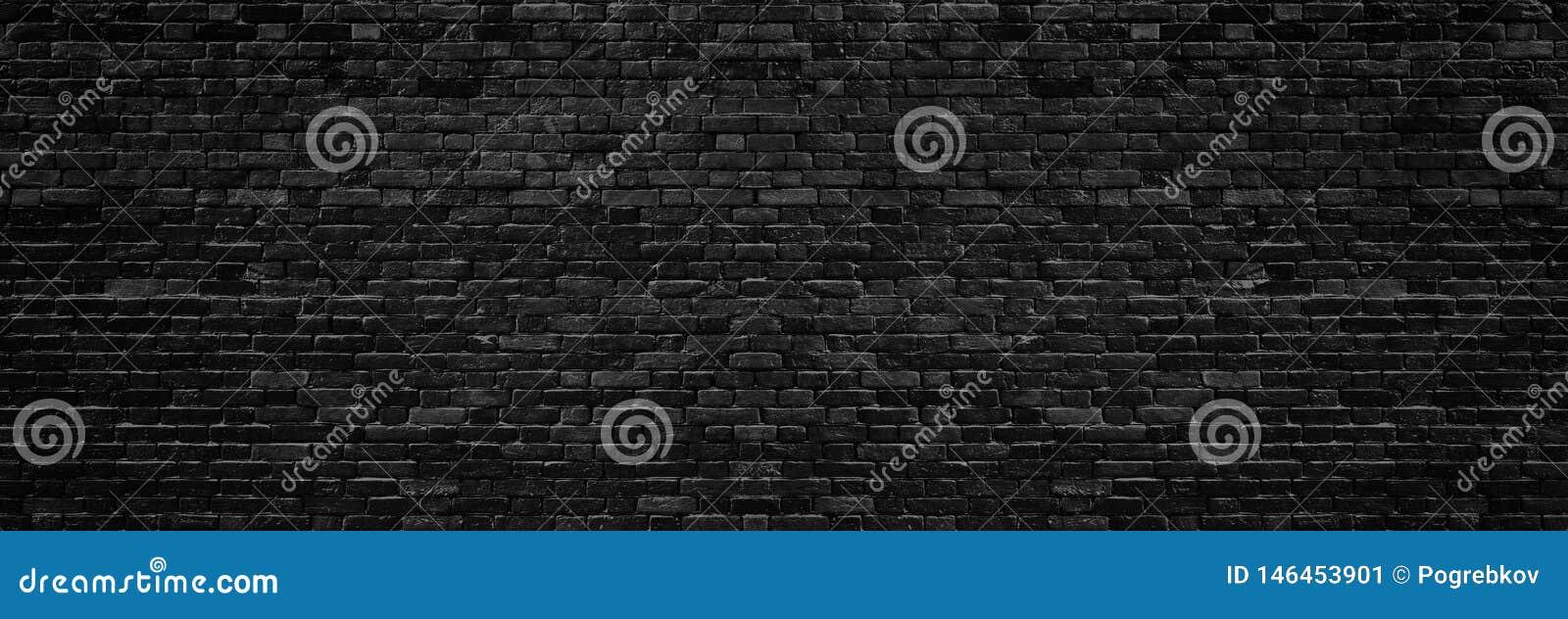 Textura larga preta da parede de tijolo Fundo panorâmico da alvenaria escura