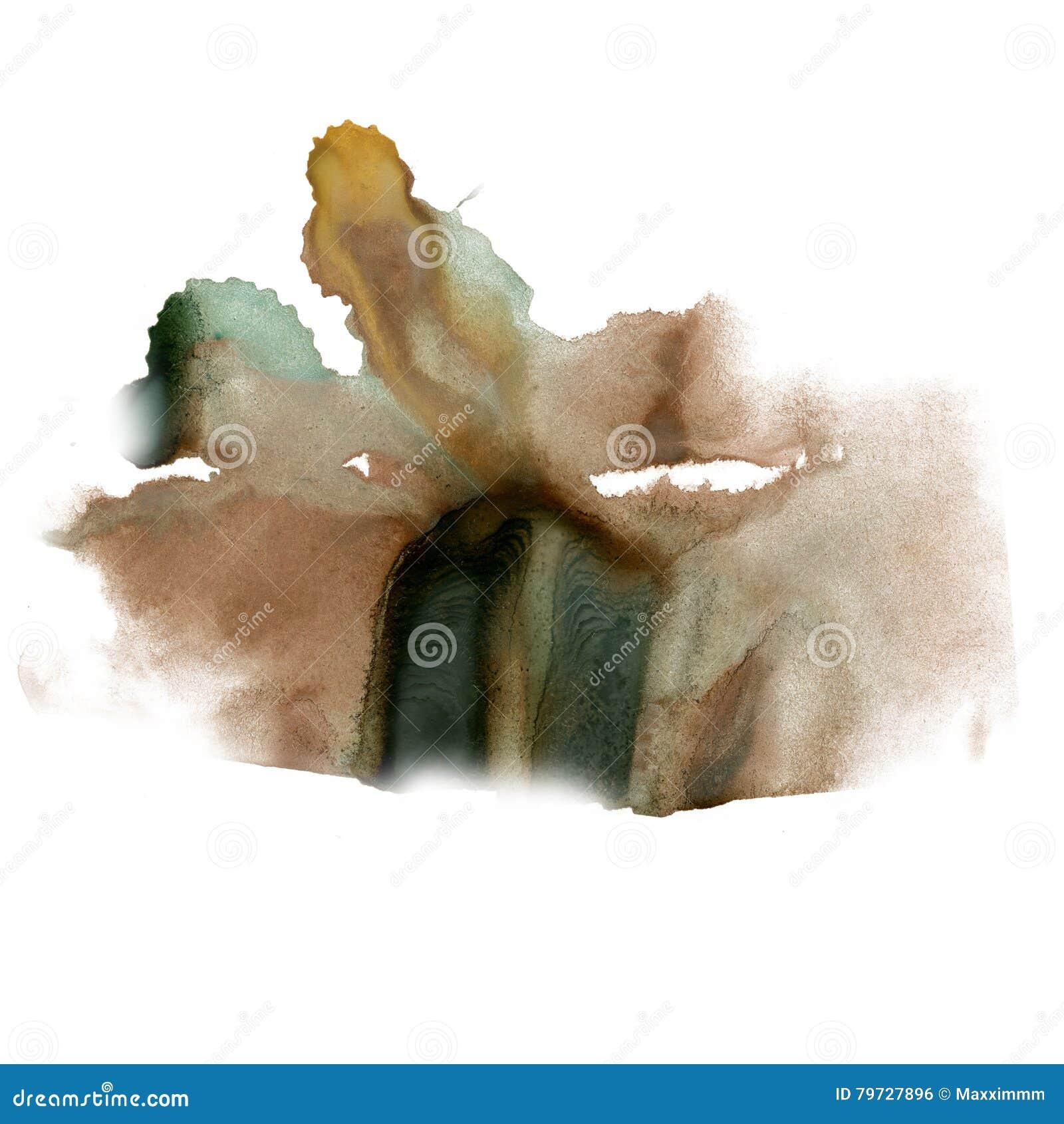 Textura macra de la mancha del punto de la acuarela líquida del negro del marrón del tinte del watercolour de la tinta de la salp