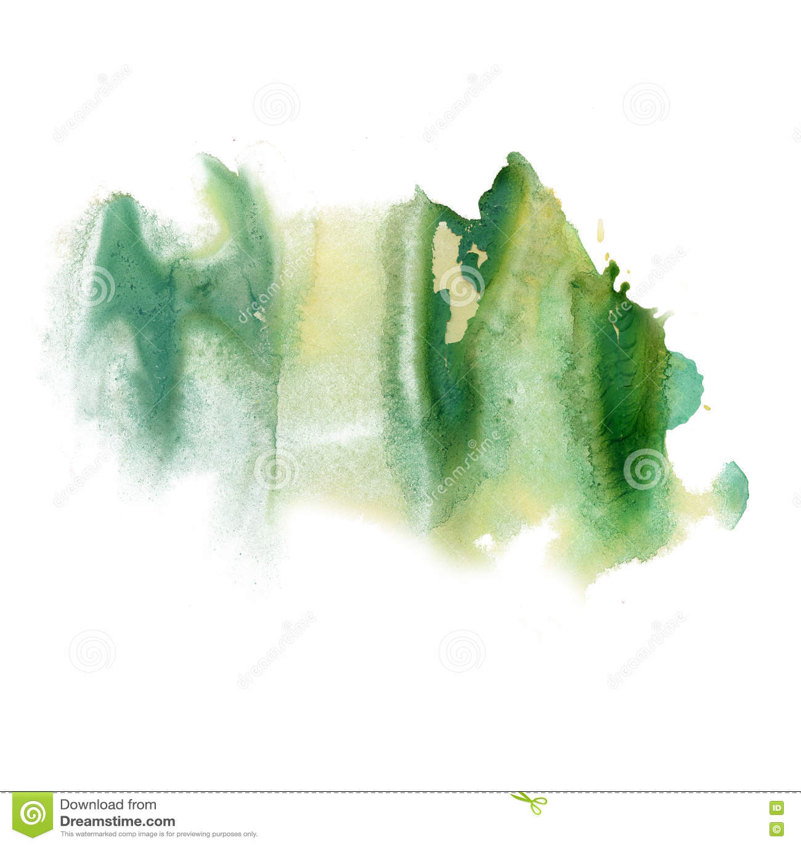 Textura macra de la mancha del punto de la acuarela líquida del tinte del verde del watercolour de la salpicadura de la tinta ais