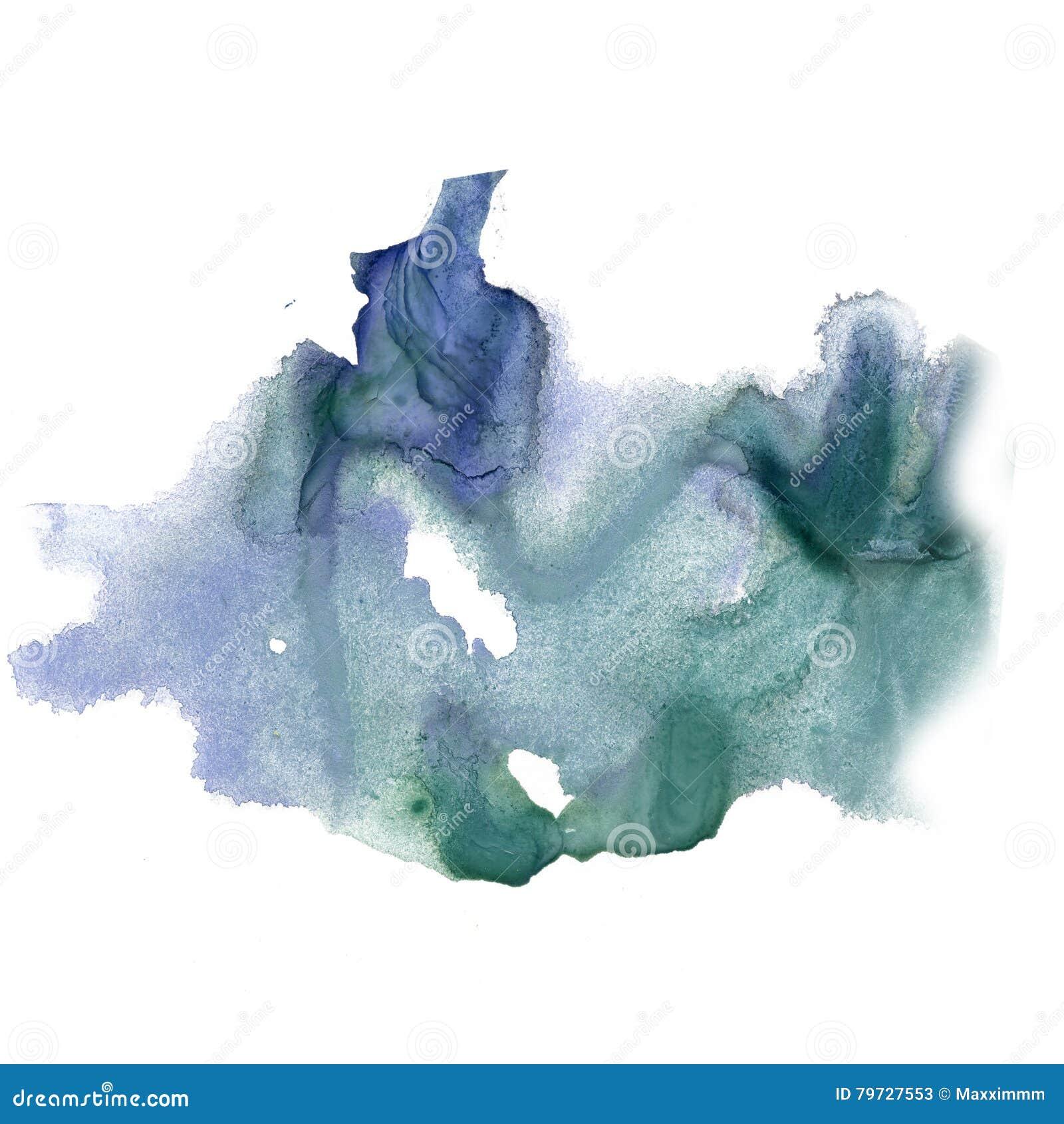 Textura macra de la mancha del punto de la acuarela líquida del verde azul del tinte del watercolour de la salpicadura de la tint