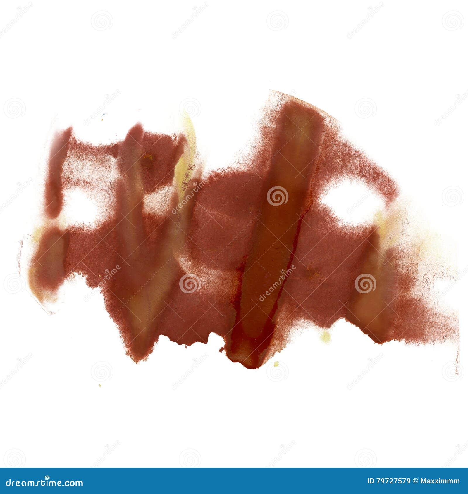 Textura macra de la mancha del punto de la acuarela marrón líquida del tinte del watercolour de la salpicadura de la tinta aislad
