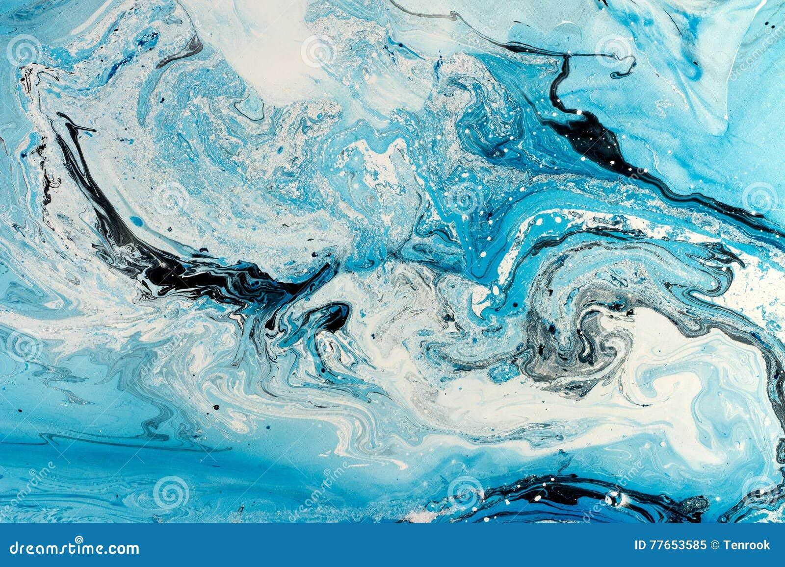 Textura marmoreando azul O fundo criativo com o óleo abstrato pintado acena, superfície feito a mão