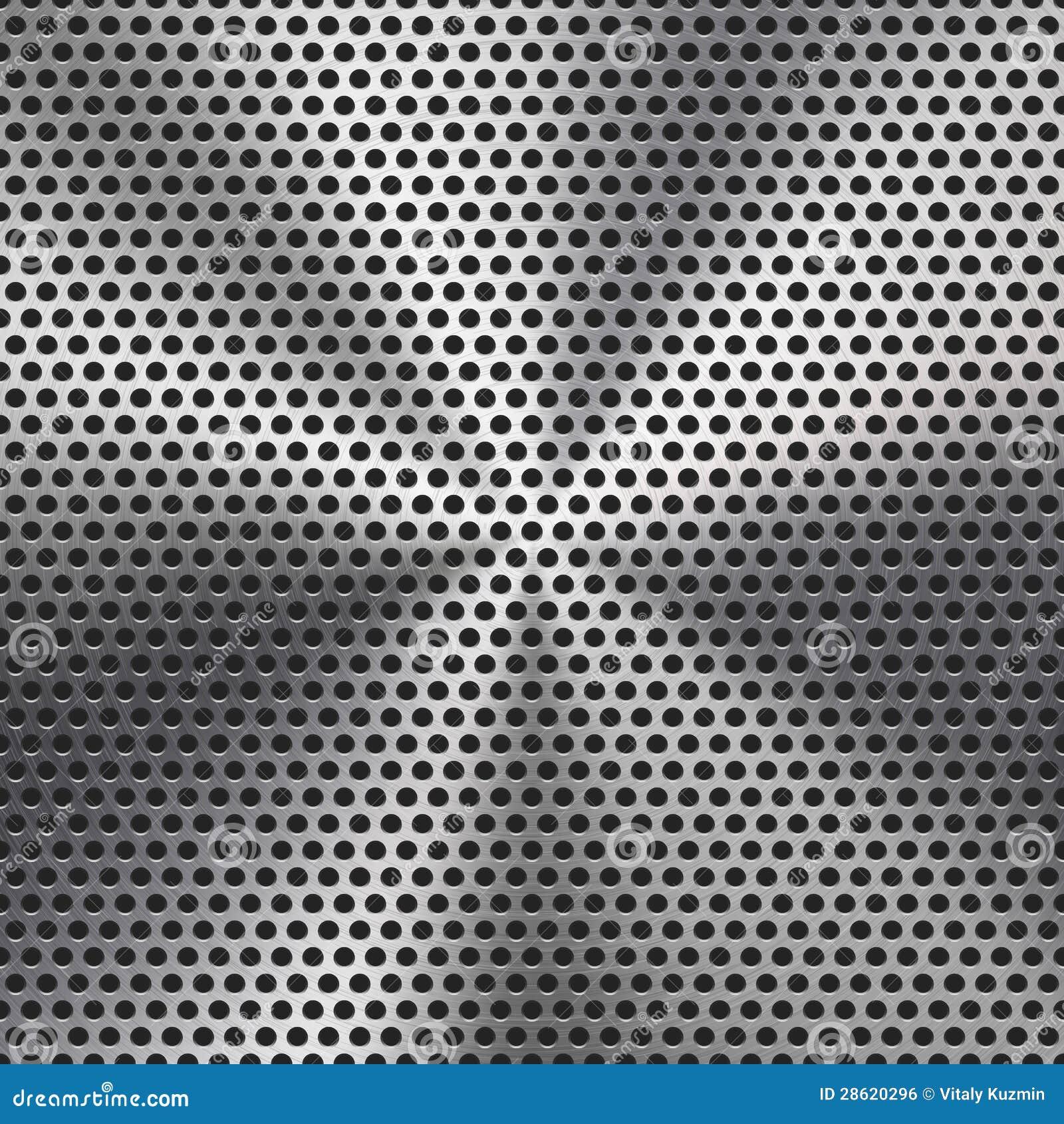 Textura perfurada da grade do metal do círculo sem emenda