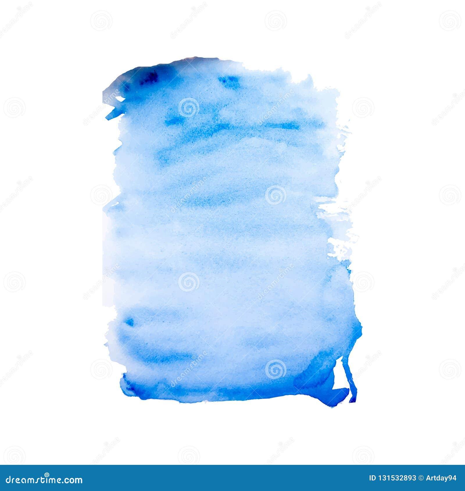 Textura pintada a mano azul en el fondo blanco, tinta de la acuarela del vector