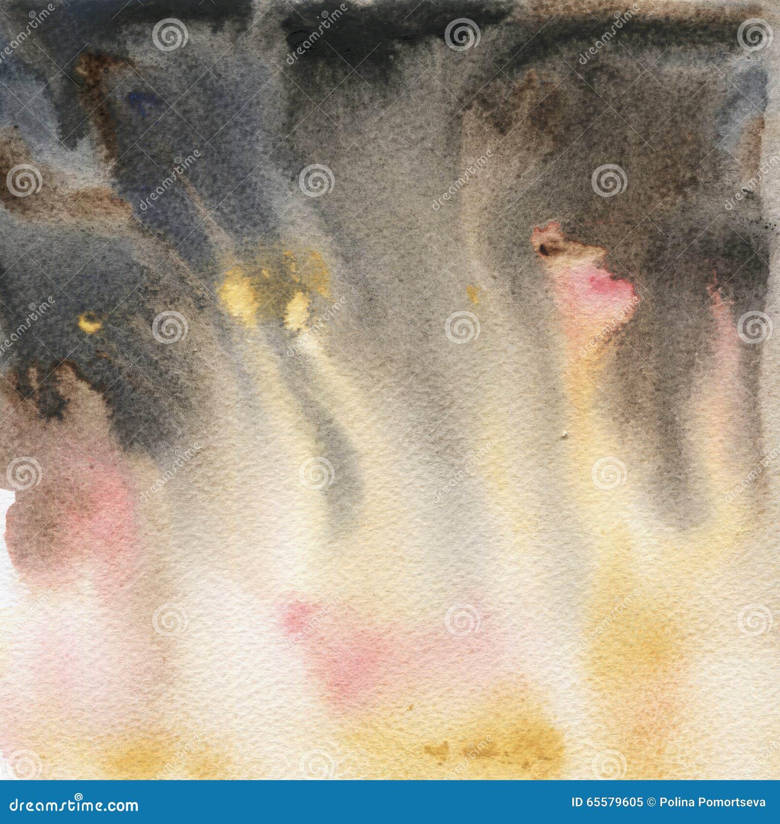 Textura pintado à mão da aquarela amarela e cinzenta