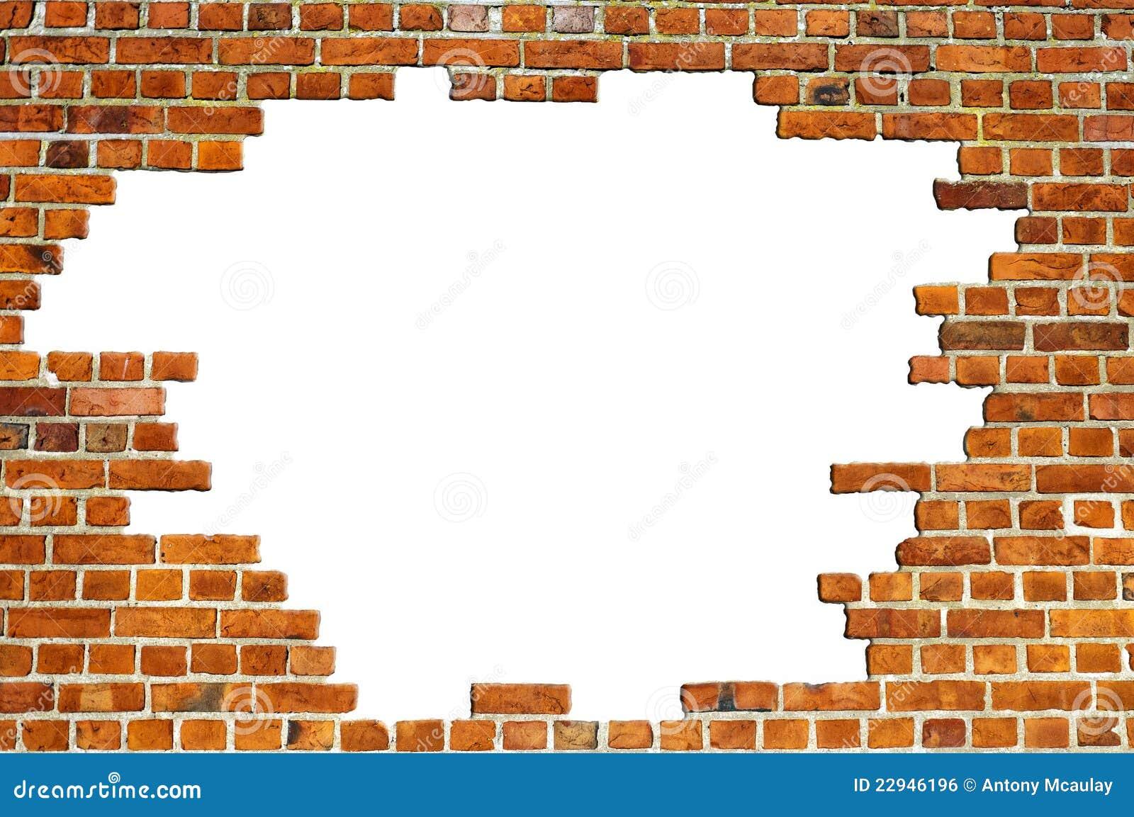 Textura roja de la pared de ladrillo con el agujero foto - Agujero en la pared ...
