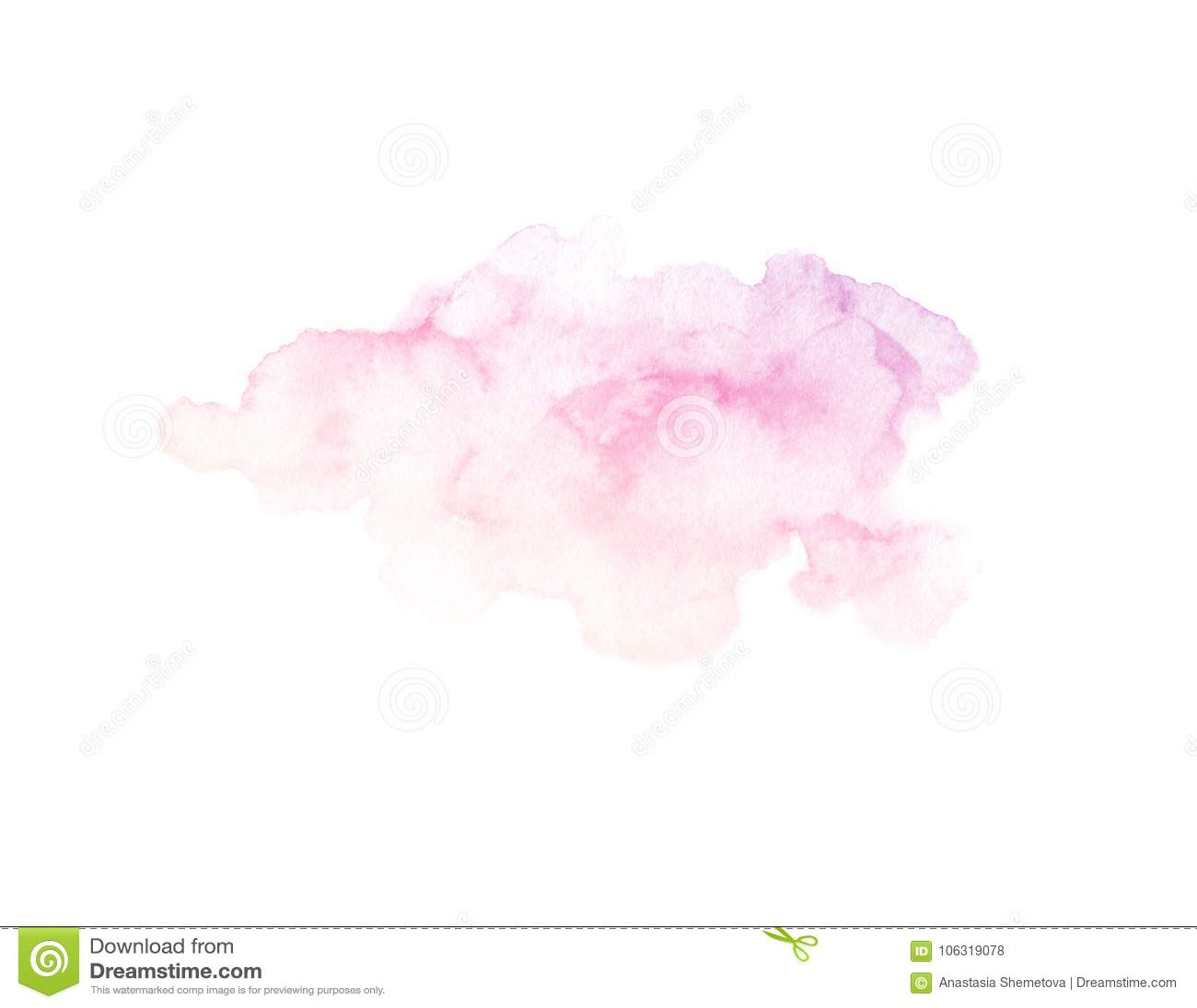 Textura roxa e cor-de-rosa pintado à mão da aquarela isolada no fundo branco