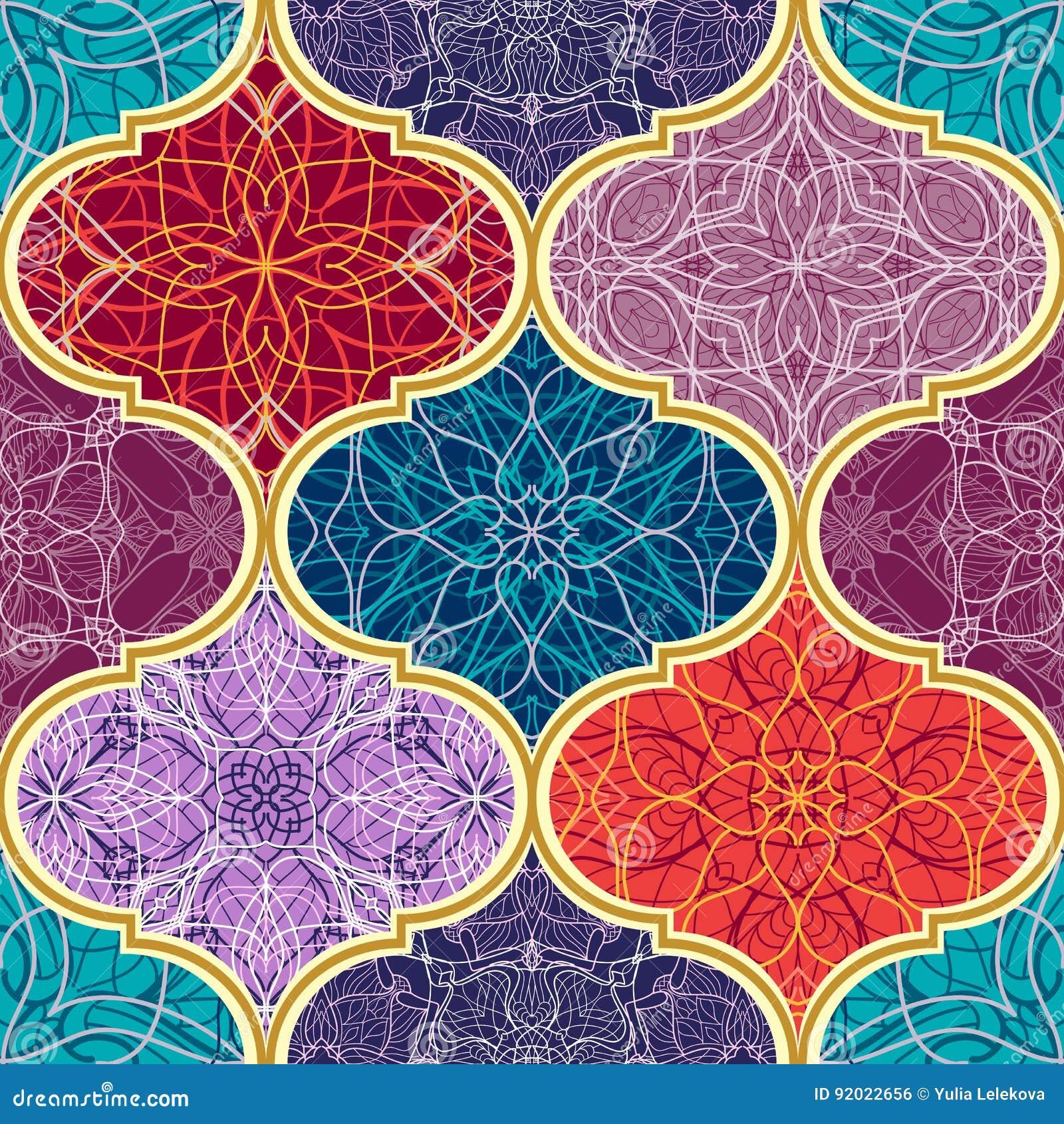 Textura sem emenda do vetor Teste padrão de mosaico mega bonito dos retalhos para o projeto e forma com elementos decorativos