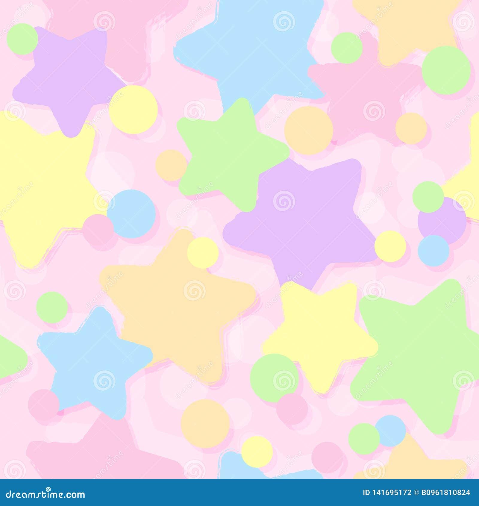Textura sem emenda Fundo estrelado Estrelas bonitas bonitos Sonhos doces Estilo do ` s das crianças