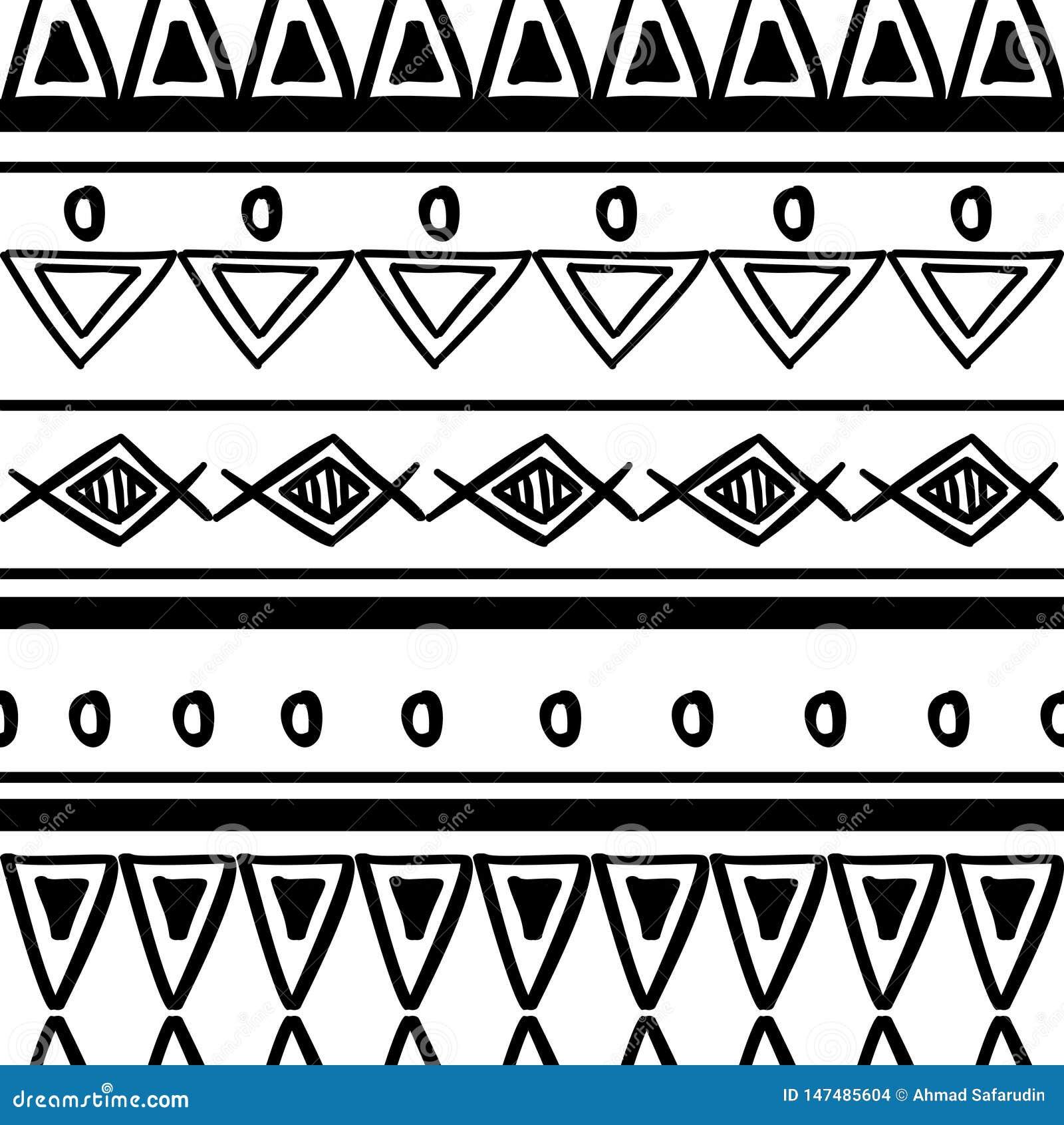 Textura tribal do teste padr?o com o africano tirado m?o, asteca, ilustra??o de tiragem criativa do vetor do maya Testes padr?es