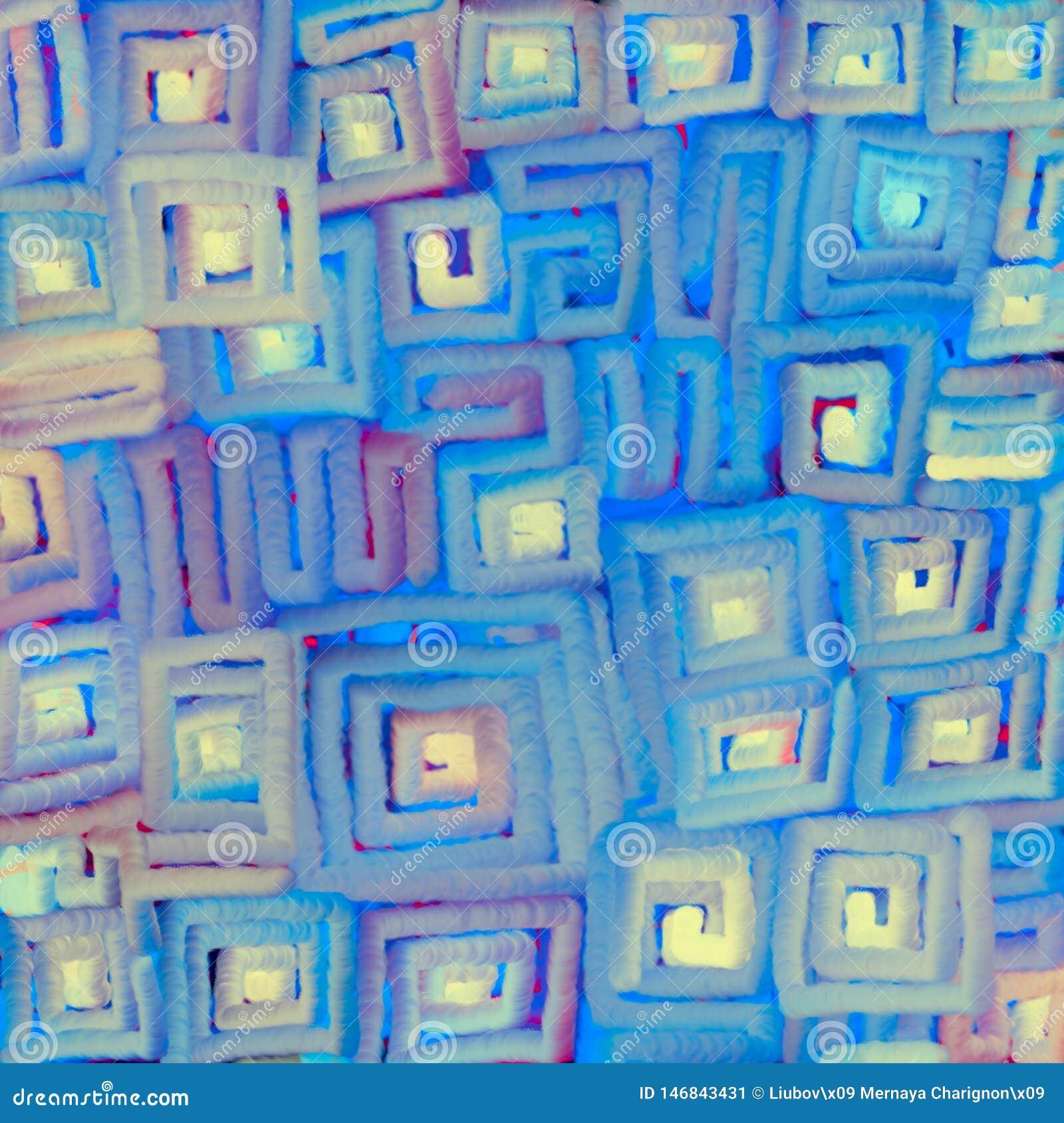 Textural zamazany t?o mi?kkie cz??ci barwi? gradientowe linie rusza? si? po spirali na kwadracie Cyfrowej abstrakcji ilustracja