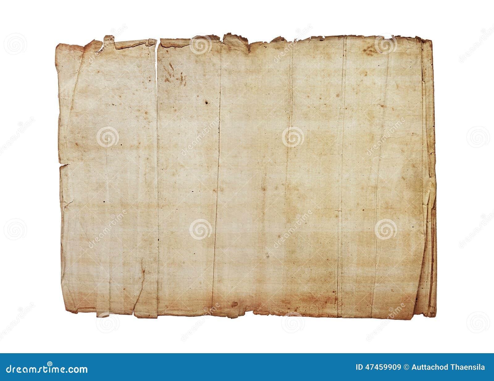 Texturas de papel velhas no fundo branco