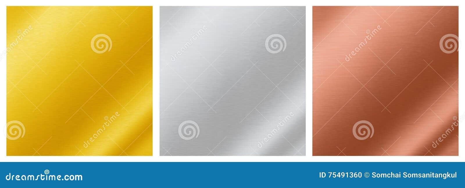 Texturas metálicas del fondo del oro, plata, bronce, aluminio,