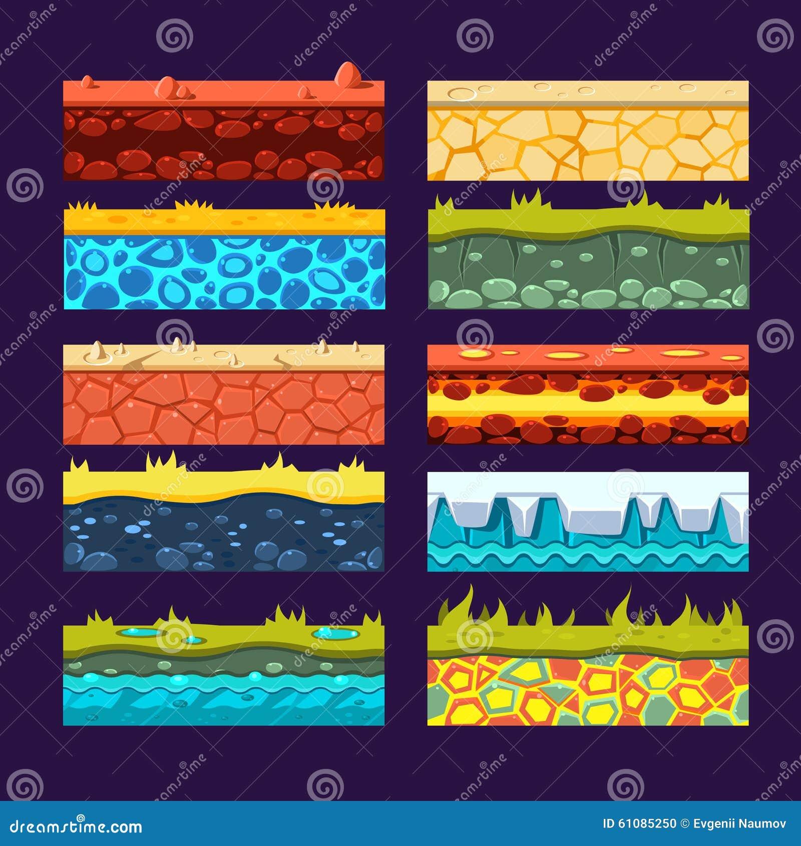 Texturas Para Jogos Plataforma, Grupo De Vetor Ilustração do Vetor - Imagem: 61085250