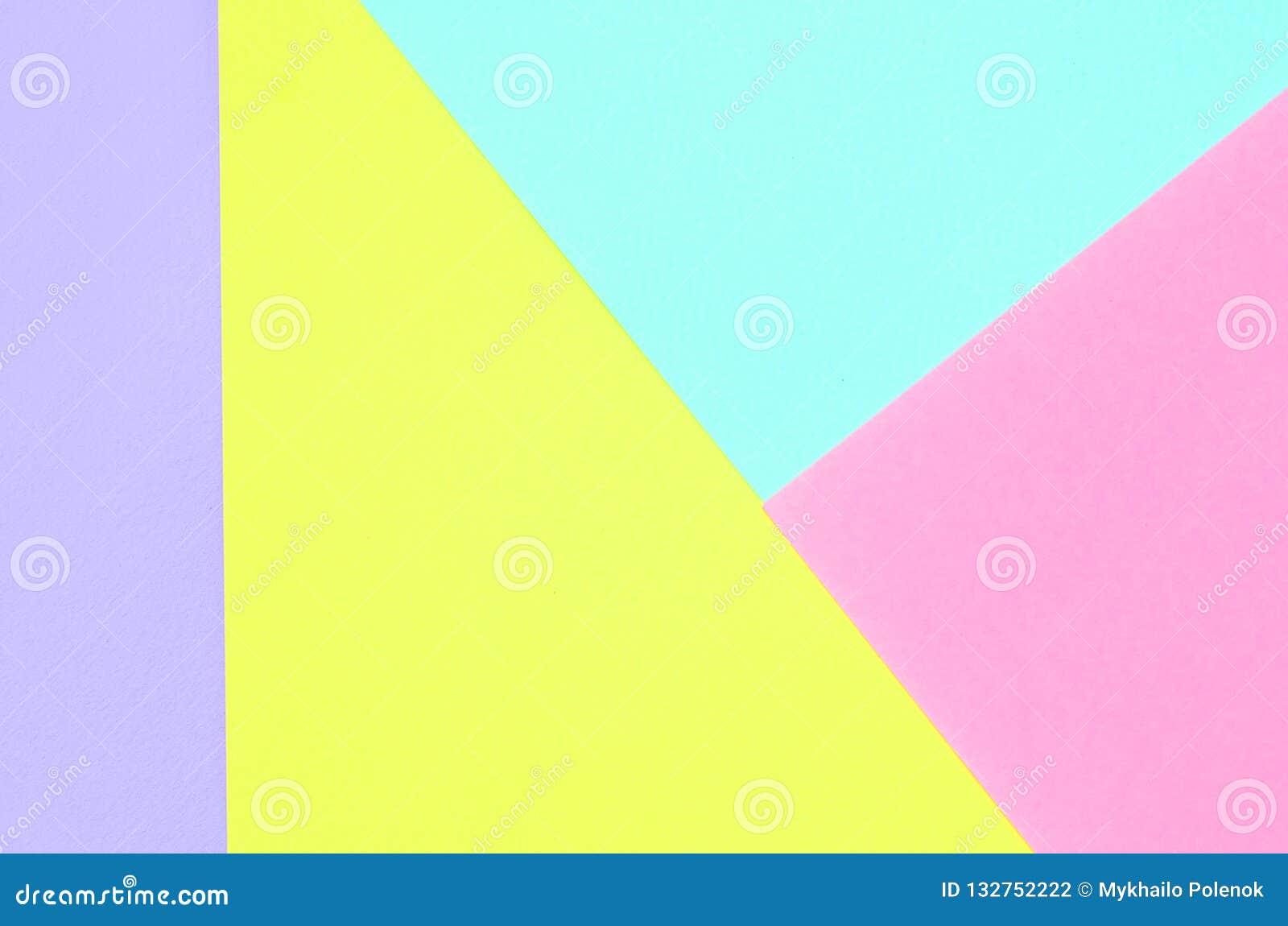 Texturbakgrund av pastellfärgade färger för mode Rosa, violett, gul och blå geometrisk modelllegitimationshandlingar Minsta abstr