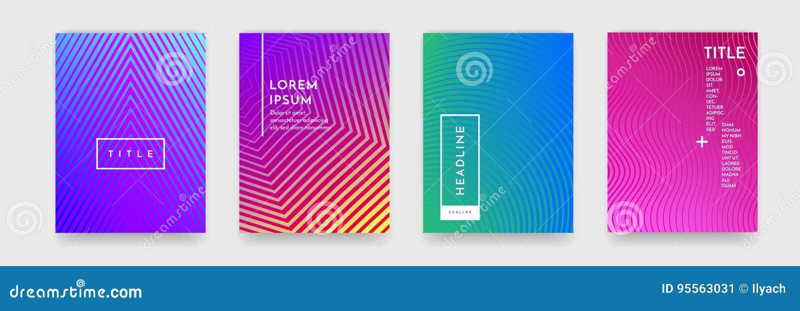Texture abstraite de modèle de couleur de gradient pour l ensemble de vecteur de calibre de couverture de livre